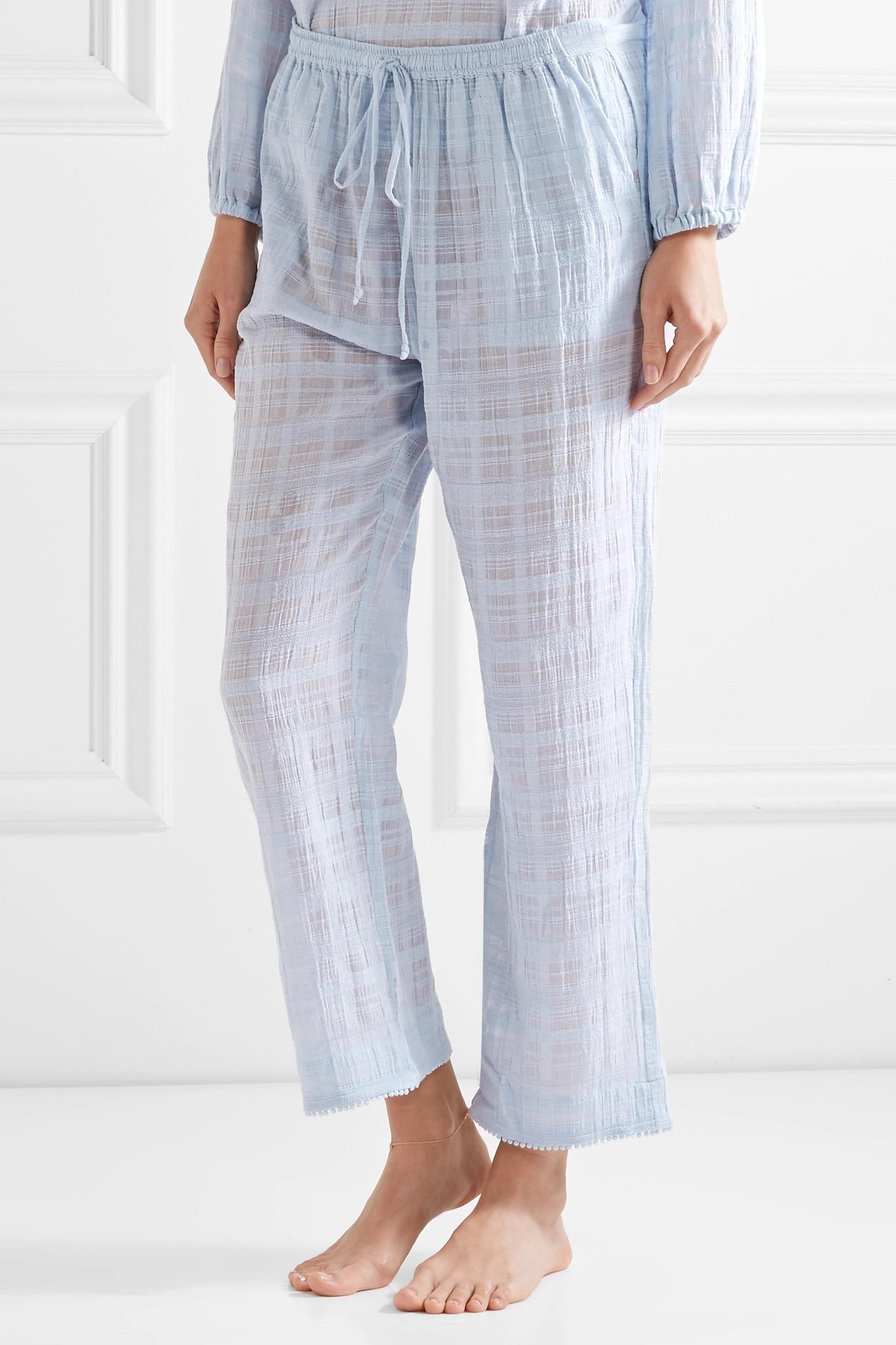 19d311620 Lyst - Skin Cropped Textured Pima Cotton-gauze Pajama Pants in Blue