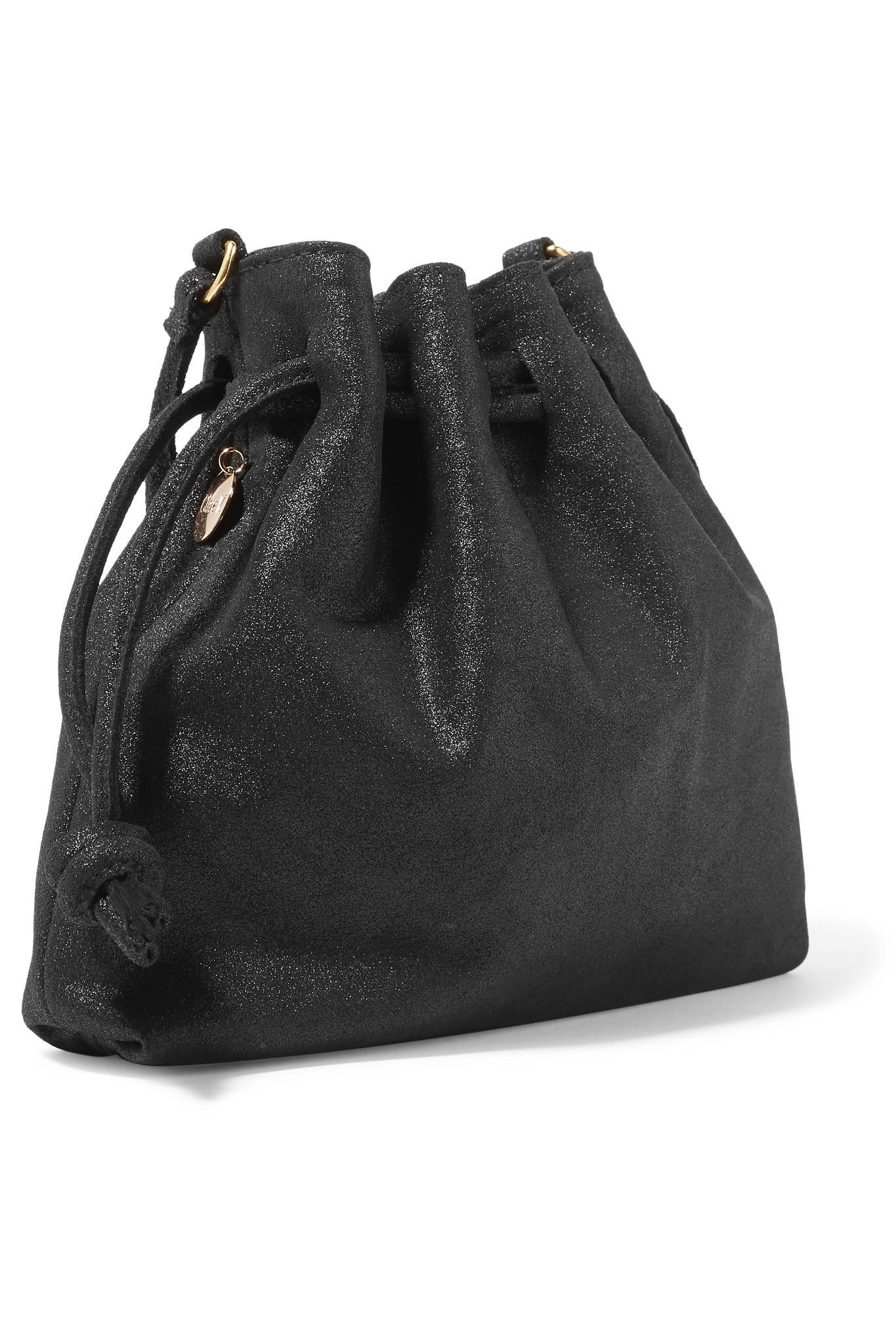 2597ff0276 Clare V. Henri Small Metallic Suede Bucket Bag in Black - Lyst