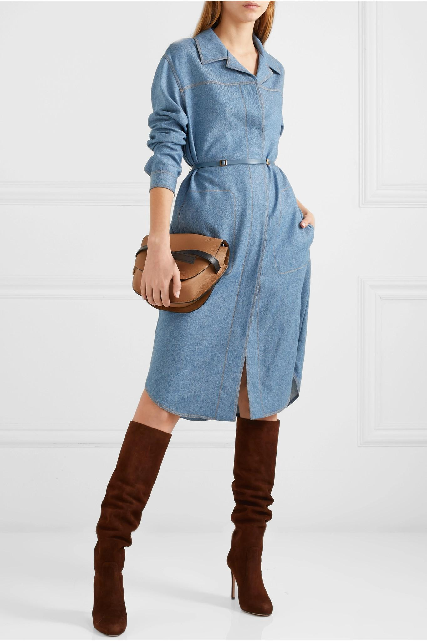 29e743907a Agnona - Blue Belted Wool And Cashmere-blend Midi Dress - Lyst. View  fullscreen