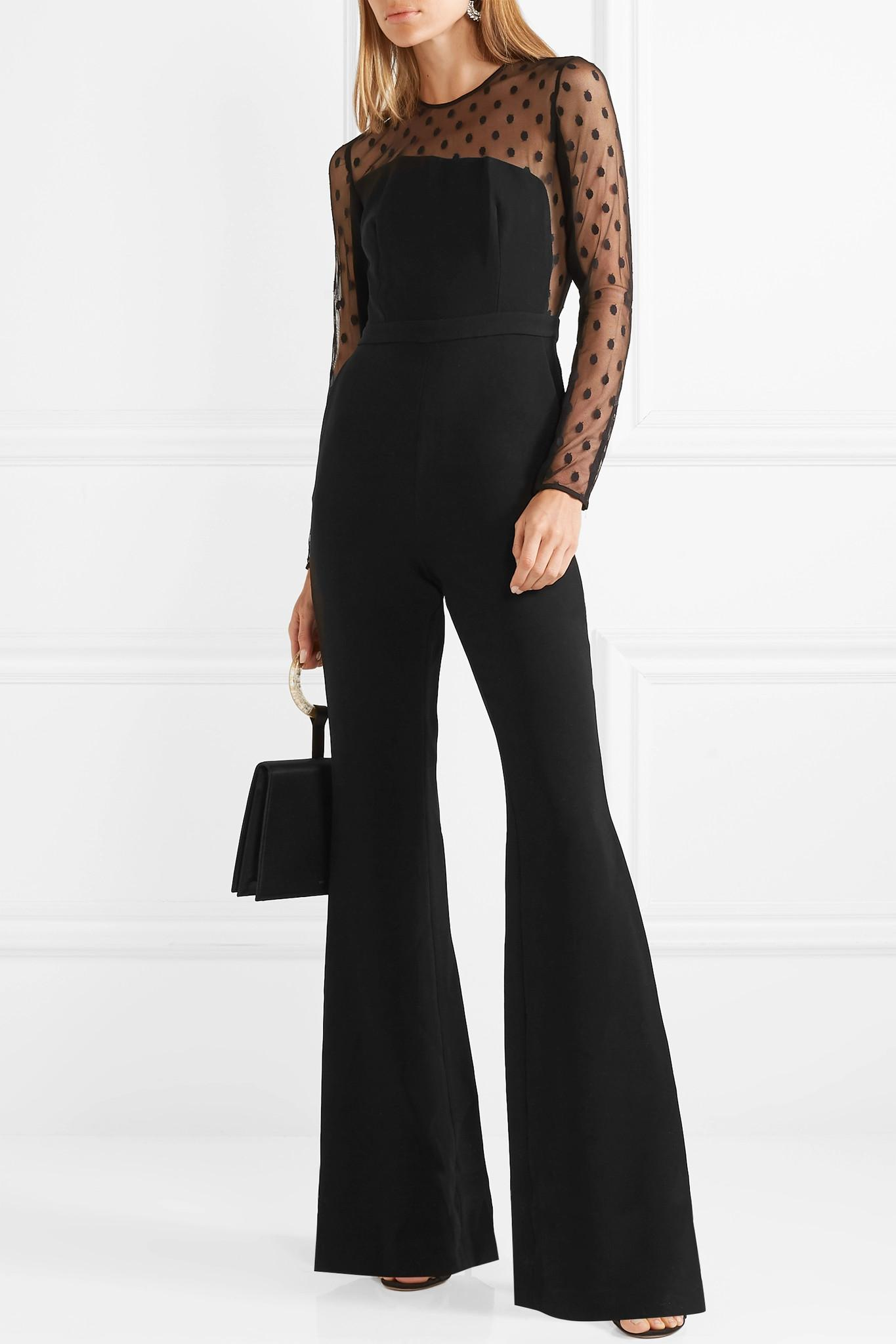 863a073ffa Lyst - Rachel Zoe Amber Crepe And Swiss-dot Tulle Jumpsuit in Black