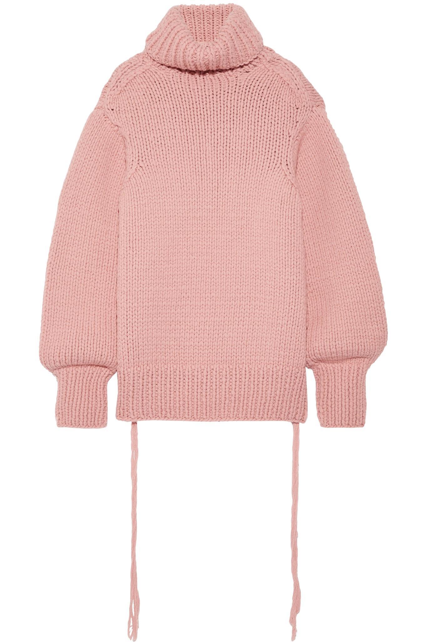 253592856ed9 JOSEPH Oversized Wool Turtleneck Sweater in Pink - Lyst