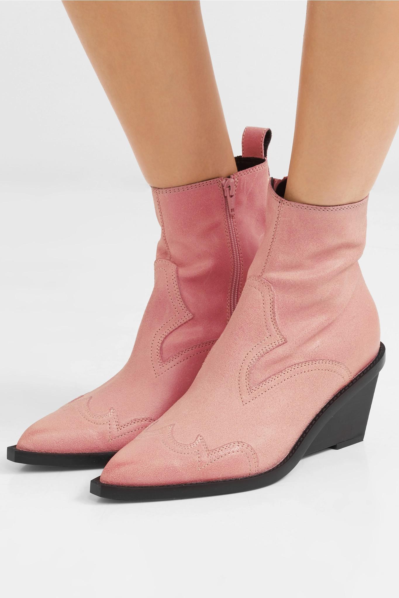 ece7b5c54d13 MM6 by Maison Martin Margiela - Pink Nubuck Wedge Ankle Boots - Lyst. View  fullscreen