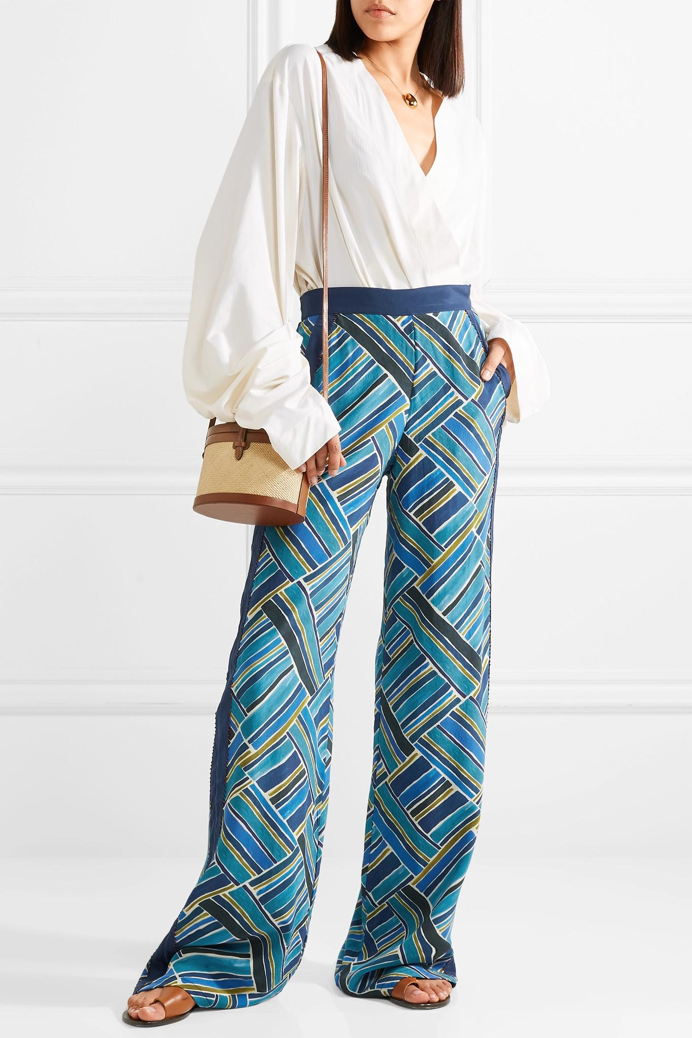 Bead-embellished Printed Silk Wide-leg Pants - Blue Talitha TdSZkjz