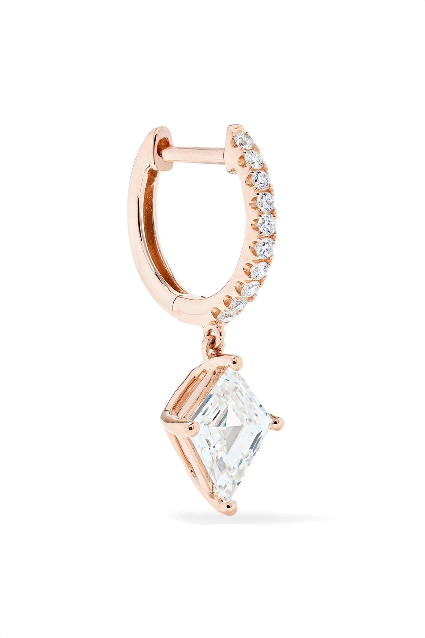 89547714e8ab8 Lyst - Anita Ko Huggie 18-karat Rose Gold Diamond Earring Rose Gold ...