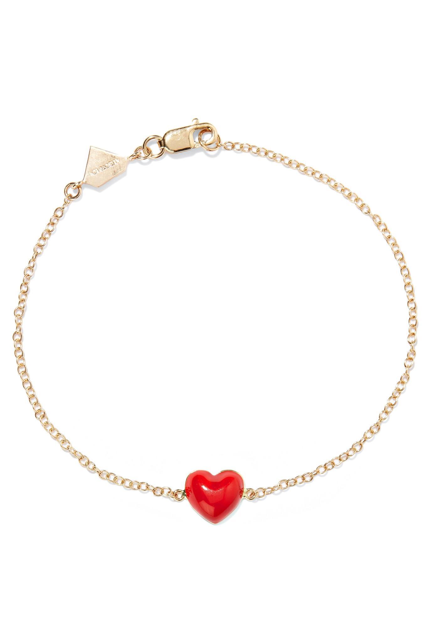 Alison Lou Mwa! Enameled 14-karat Gold Diamond Bracelet TCzjHU