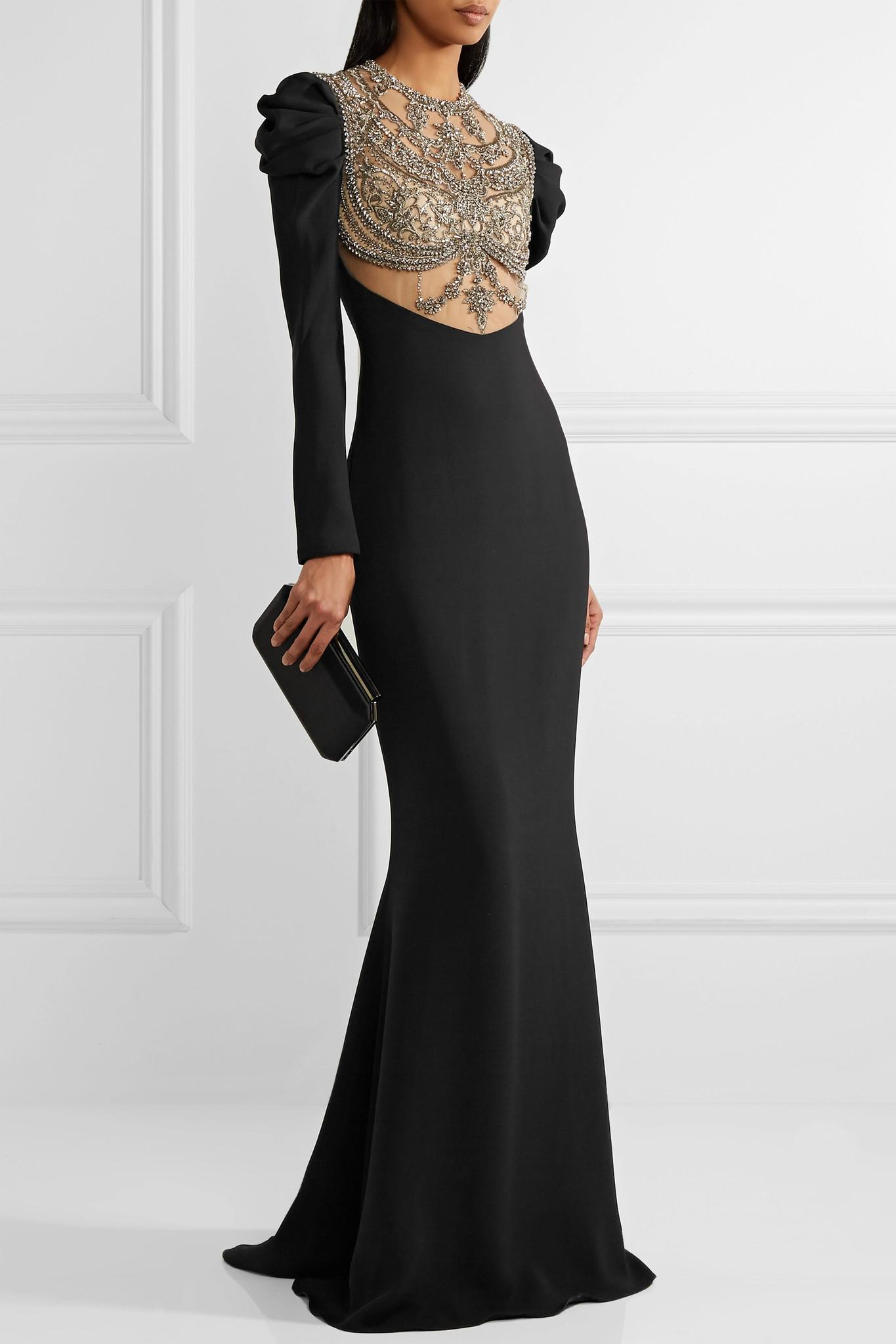 Embellished Tulle-paneled Silk Crepe De Chine Gown - Black Reem Acra Cheap Purchase Discount Pick A Best 7ox9sGrP