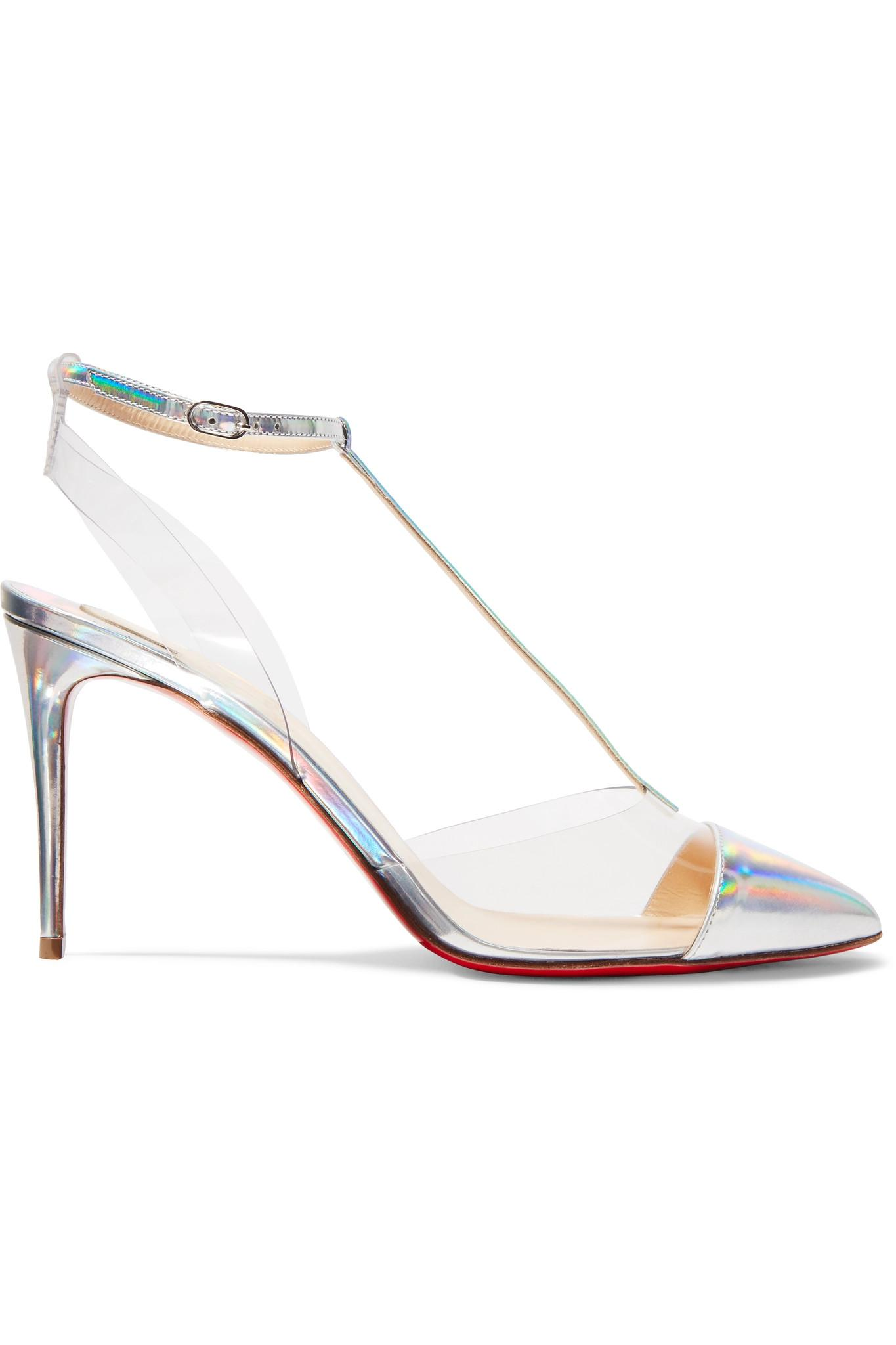 c08f427eec1a Christian Louboutin. Women s Metallic Nosy 85 Patent-leather And Pvc Pumps