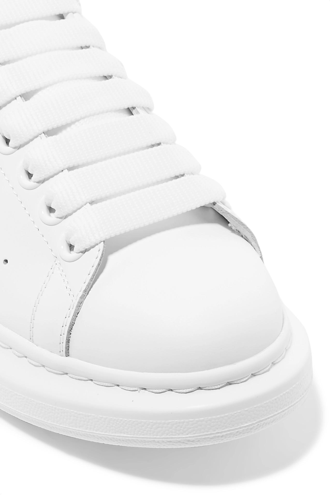 c27208a4e73a3 Alexander McQueen - White Suede-trimmed Leather Exaggerated-sole Sneakers -  Lyst. View fullscreen