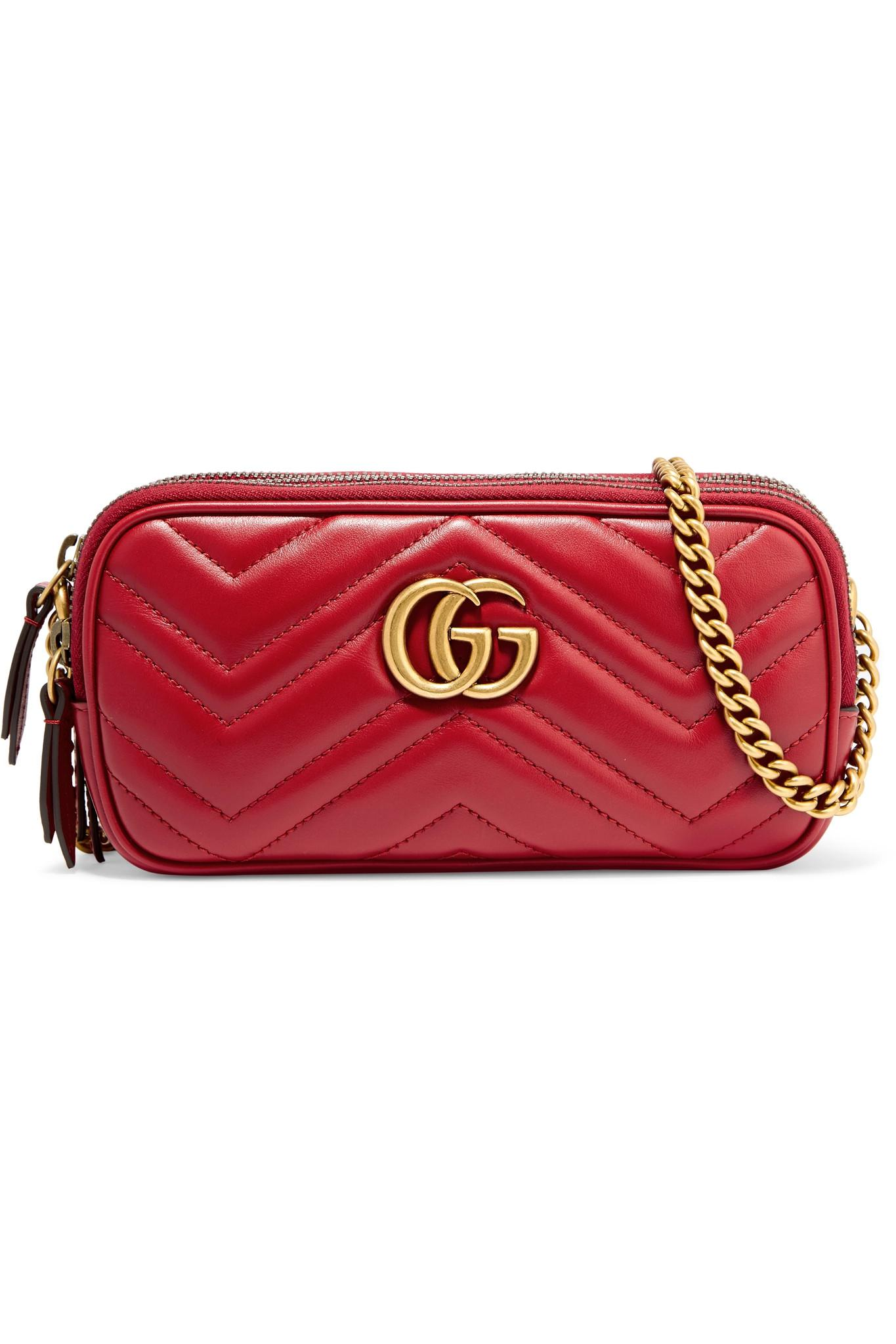 f0799eb4f14e Lyst - Gucci Gg Marmont Mini Quilted Leather Shoulder Bag in Red