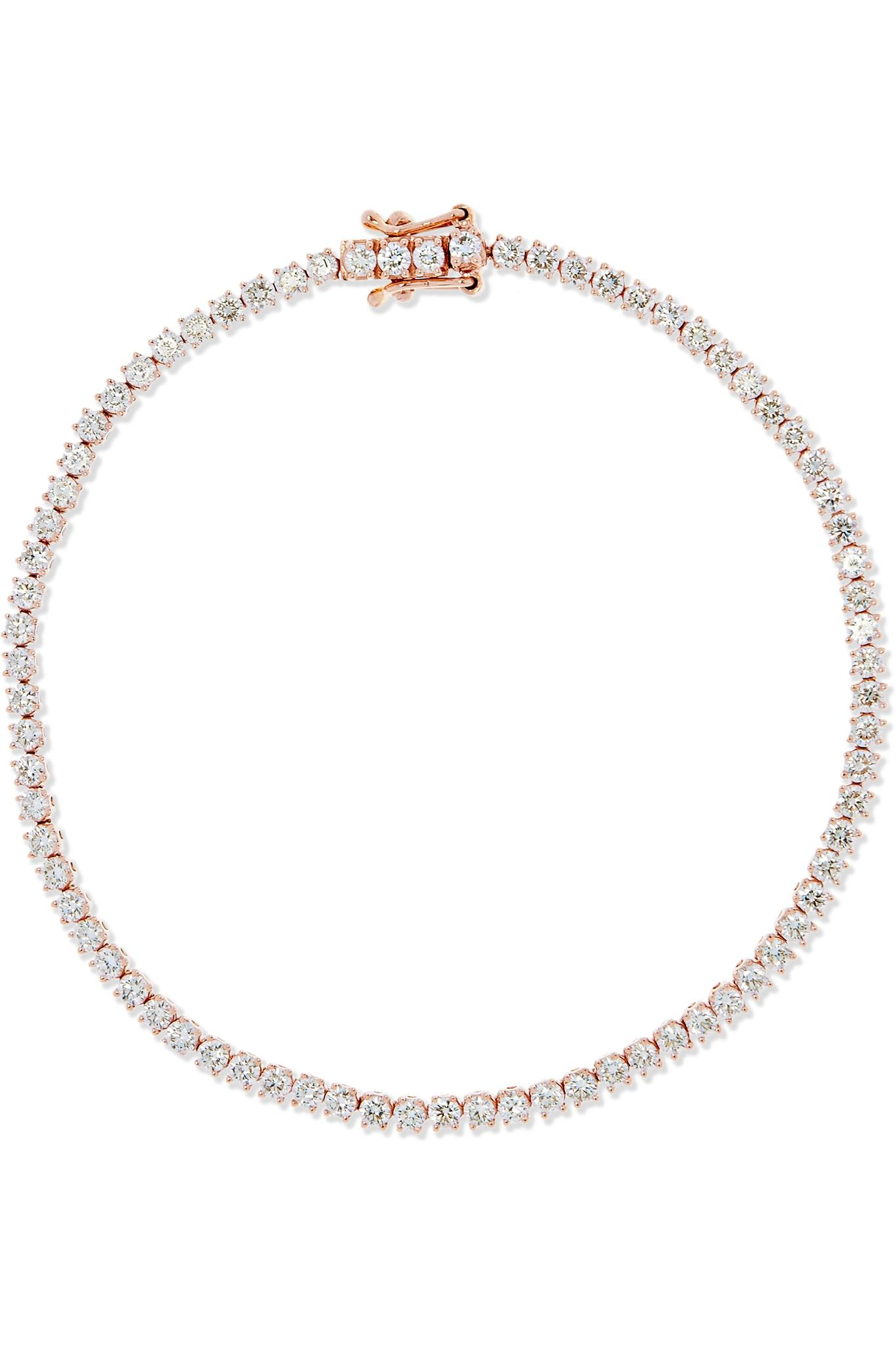 Anita Ko 18-karat Rose Gold Diamond Anklet