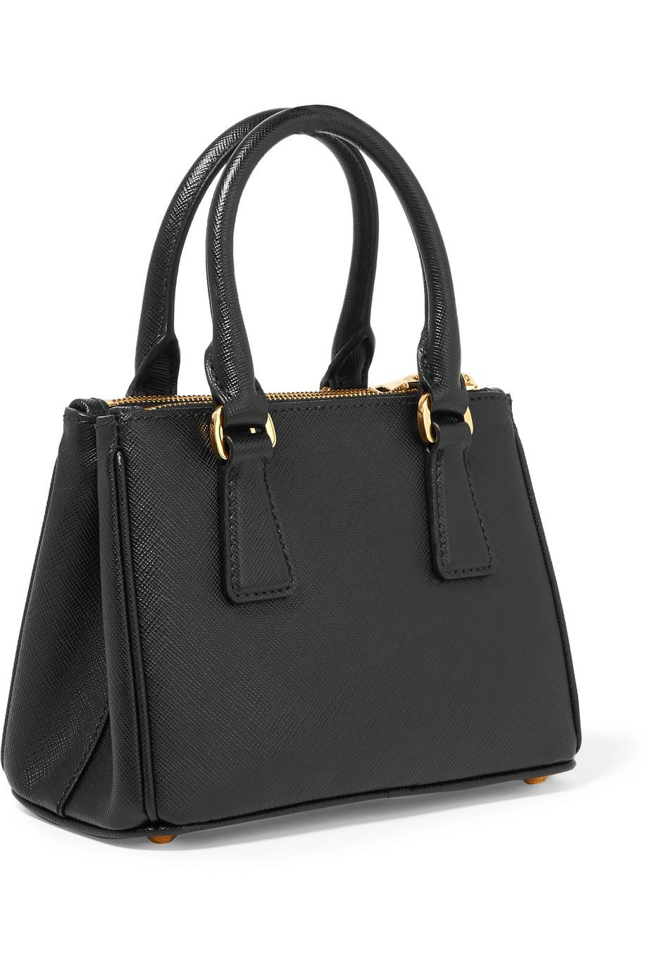 7b7fcc81950bb7 Prada Galleria Baby Textured-Leather Tote in Black - Lyst