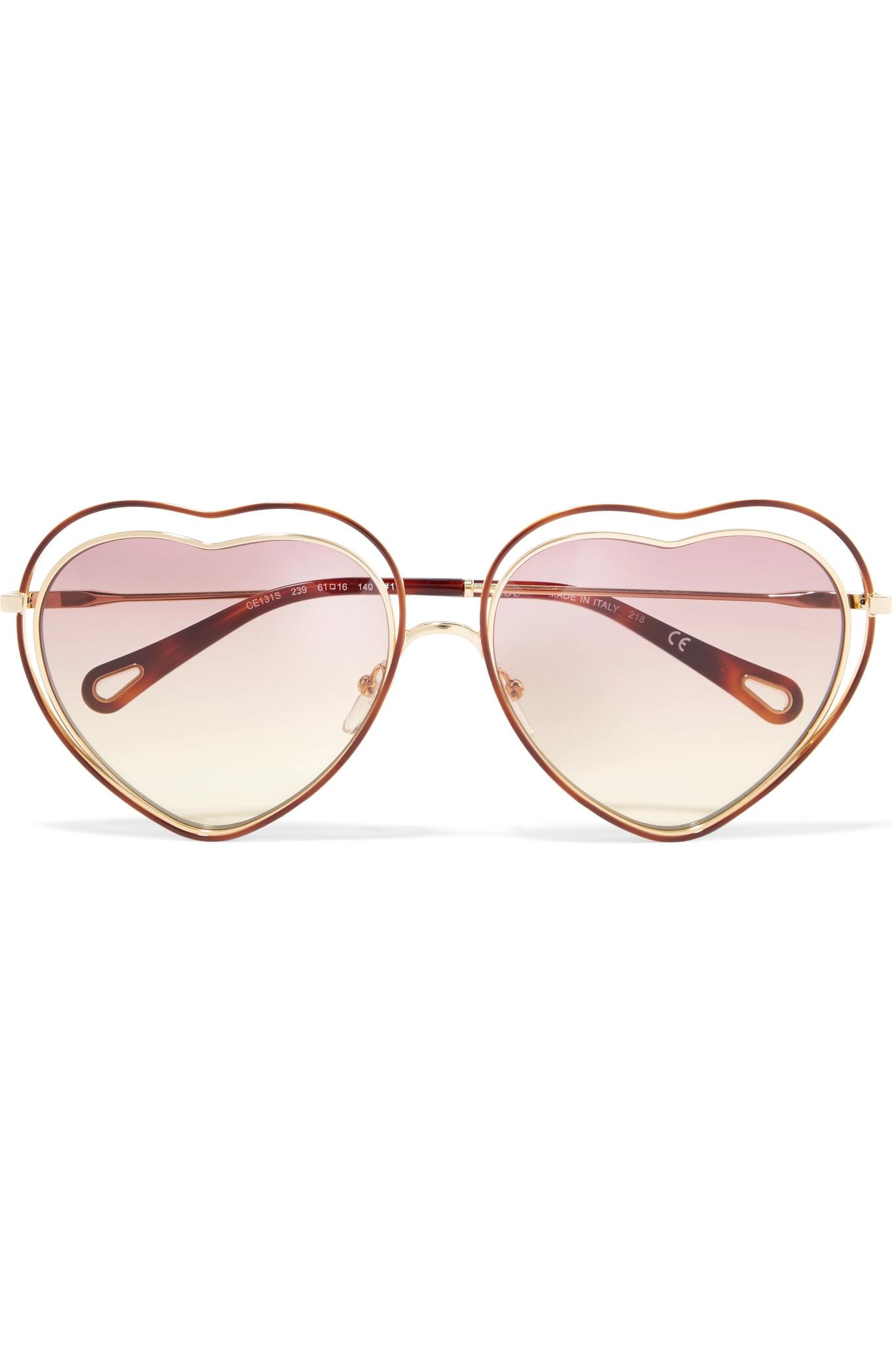 f8c288bb72 Chloé. Women s Metallic Poppy Love Heart-shaped Acetate And Gold-tone  Sunglasses