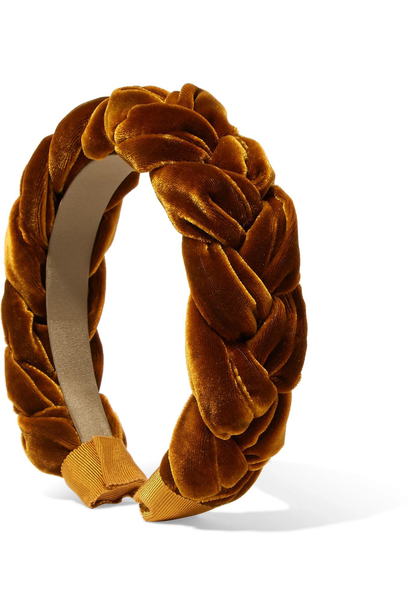 Jennifer Behr Braided Velvet Headband in Orange - Lyst 0715c665369