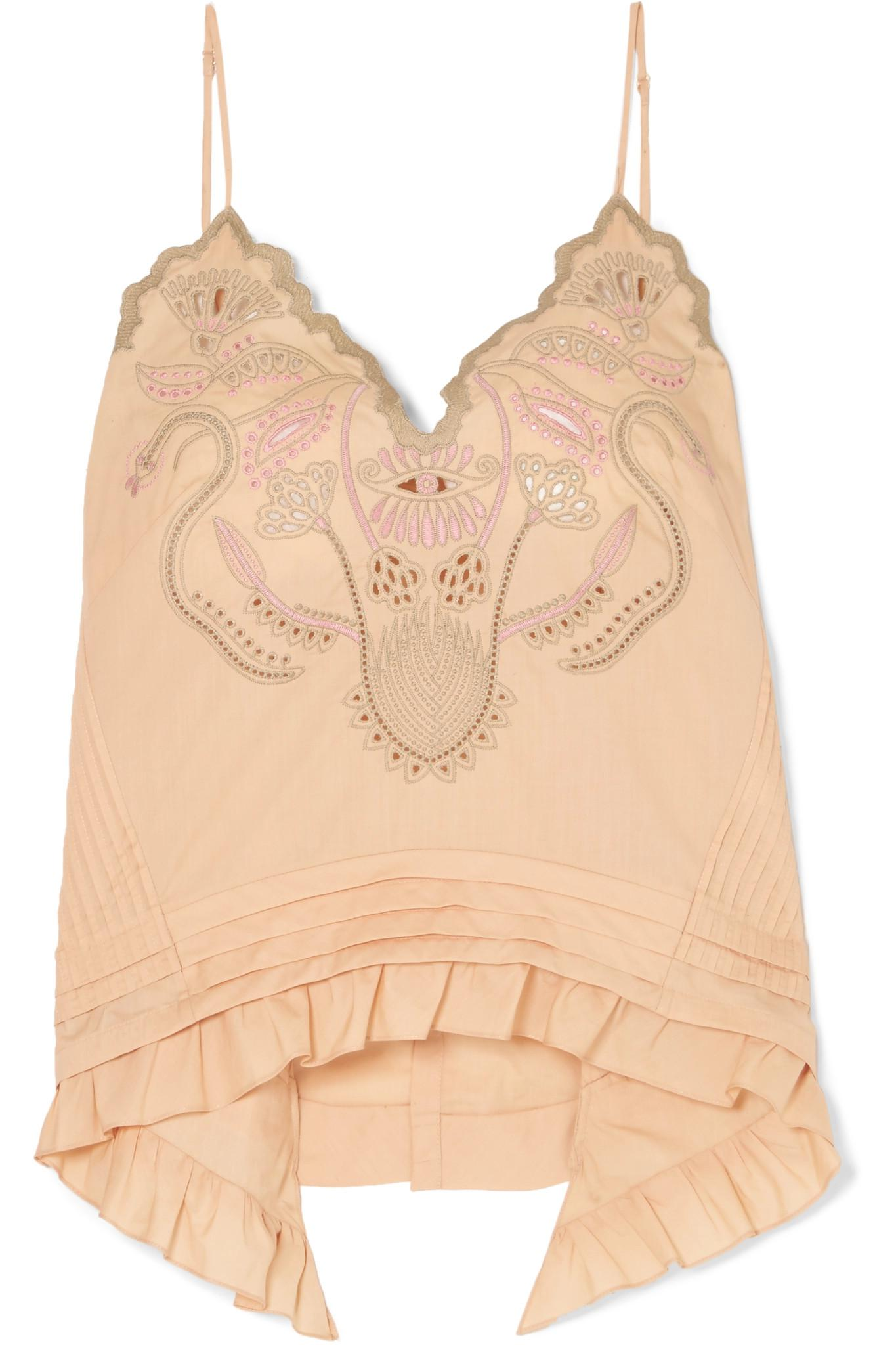 66ccdbedb97 Chloé Embroidered Cotton-voile Camisole in Natural - Lyst
