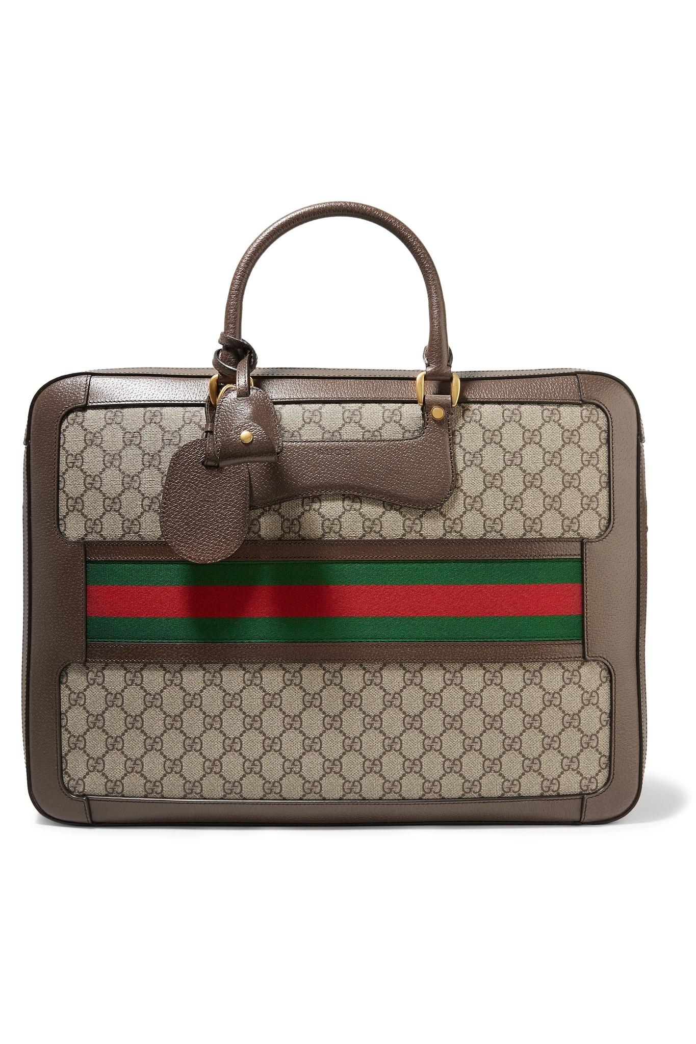 Echo Small Leather-trimmed Coated-canvas Suitcase - Brown Gucci 2TNfxIT