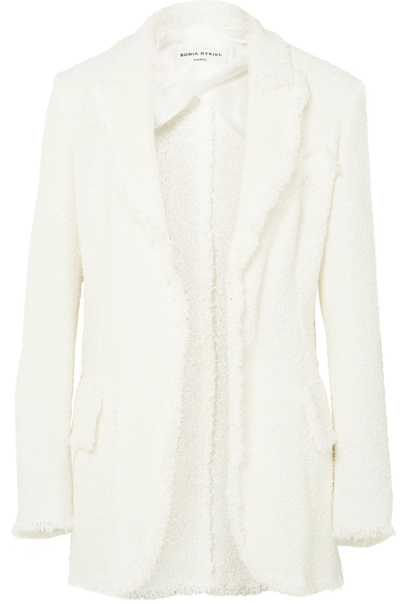 Sonia Rykiel. Women's White Frayed Bouclé Blazer