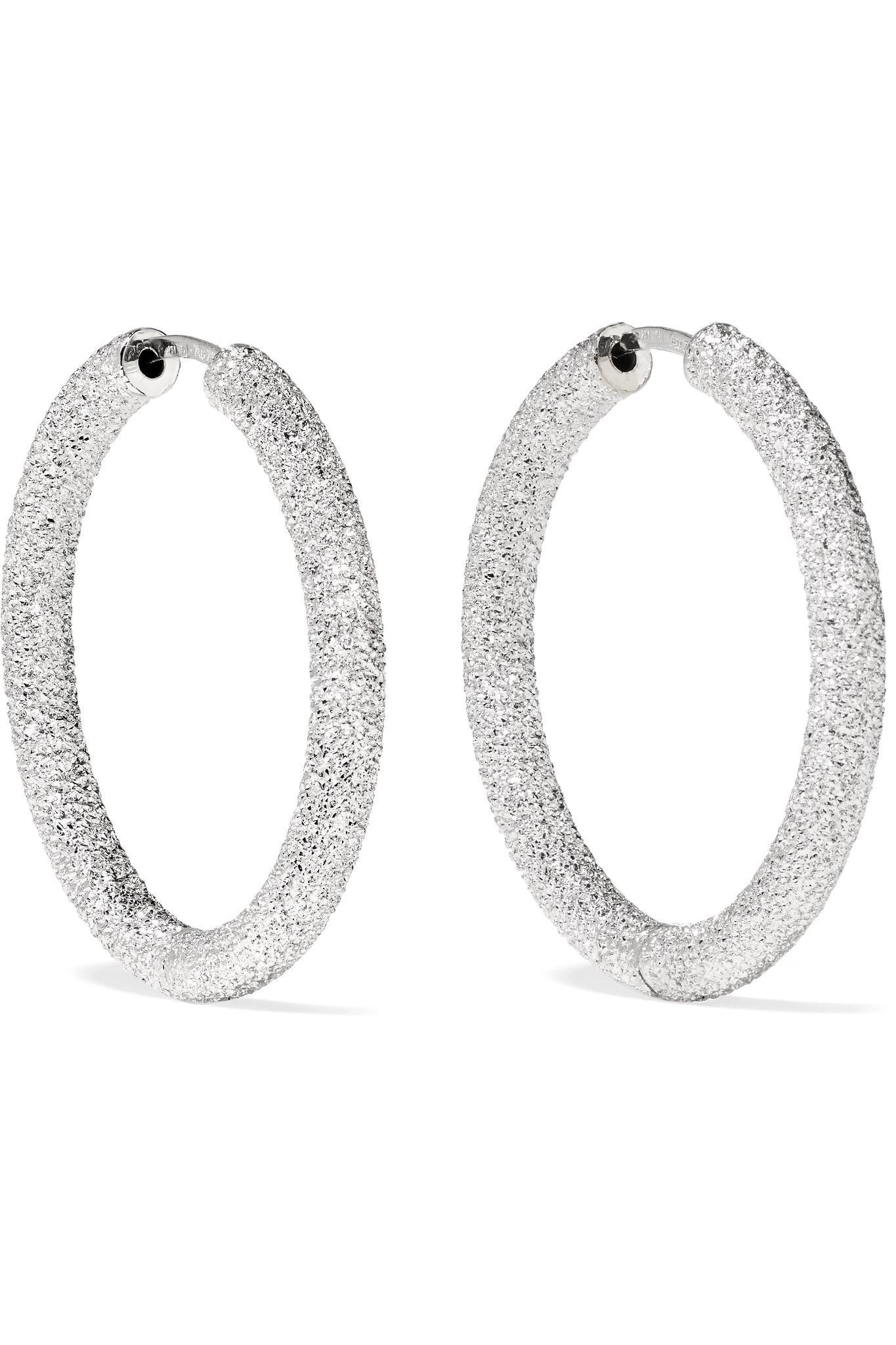 Carolina Bucci Extra Small Florentine 18-karat White Gold Earrings zNNVgKA
