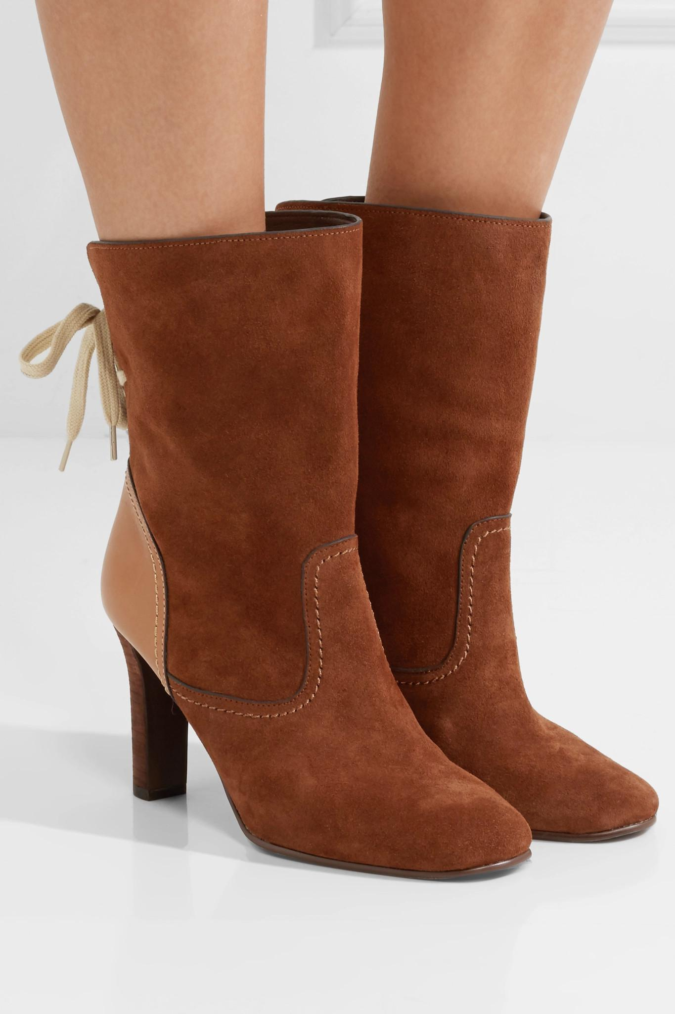 c7ad47d9e90f Lyst - See By Chloé Lara Leather-trimmed Suede Ankle Boots in Brown