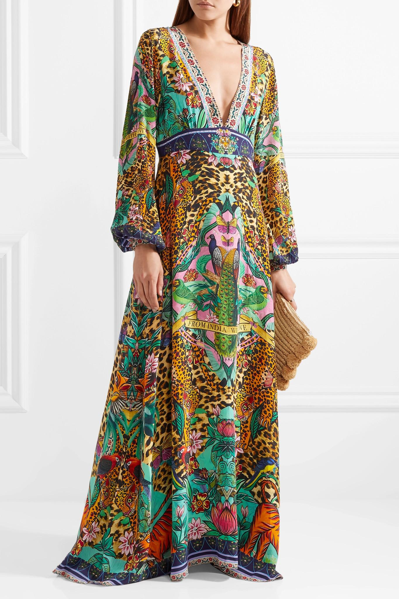 The Long Way Home Embellished Printed Silk Crepe De Chine Maxi Dress - Green Camilla Supply Sale Online TicO3KqV6d