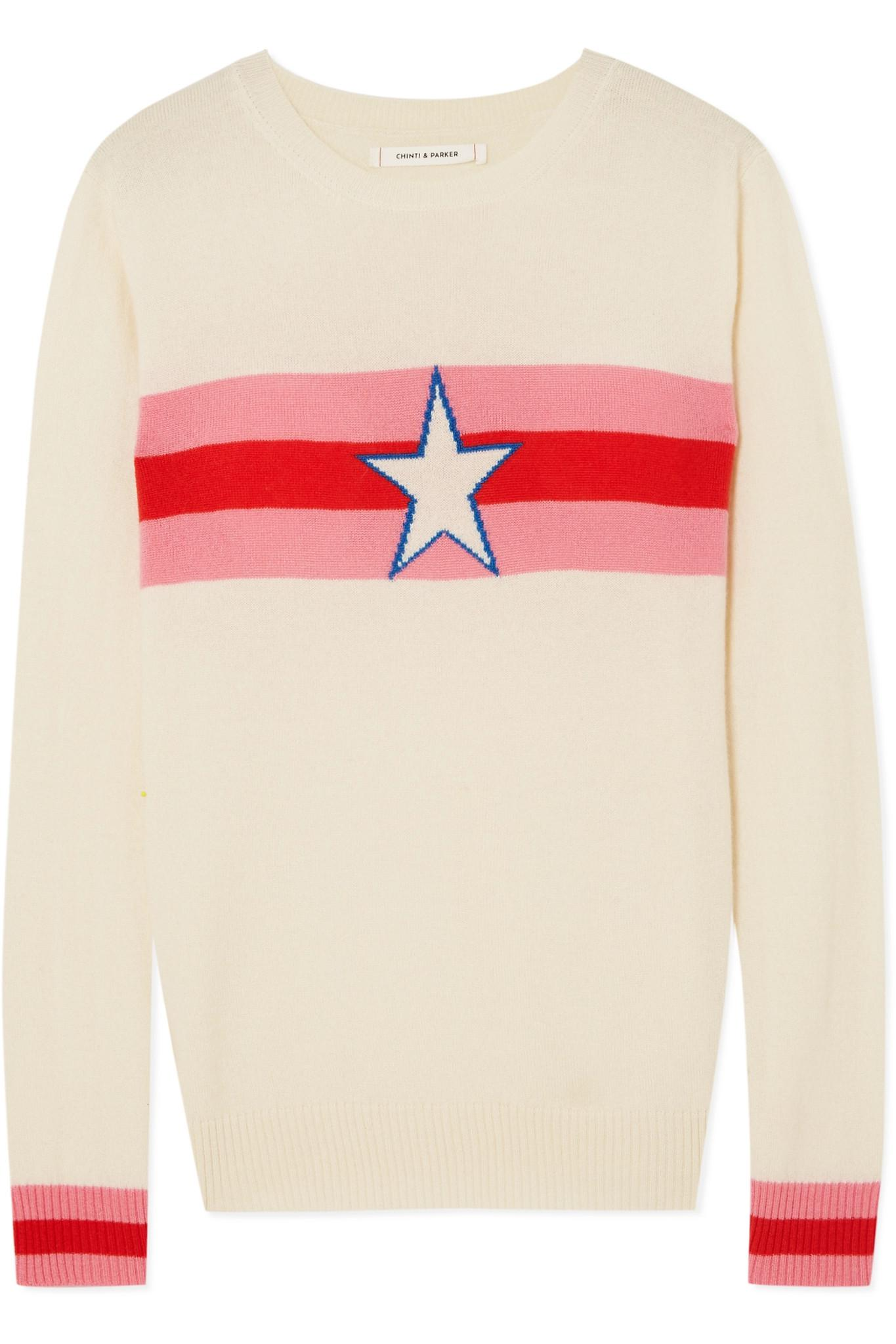 Star Crossed Intarsia Cashmere Sweater - Cream Chinti and Parker Cheap Sale Supply Free Shipping Exclusive Cheap Sale Visa Payment Sale Sneakernews Cheap Sale Factory Outlet 6xPV8