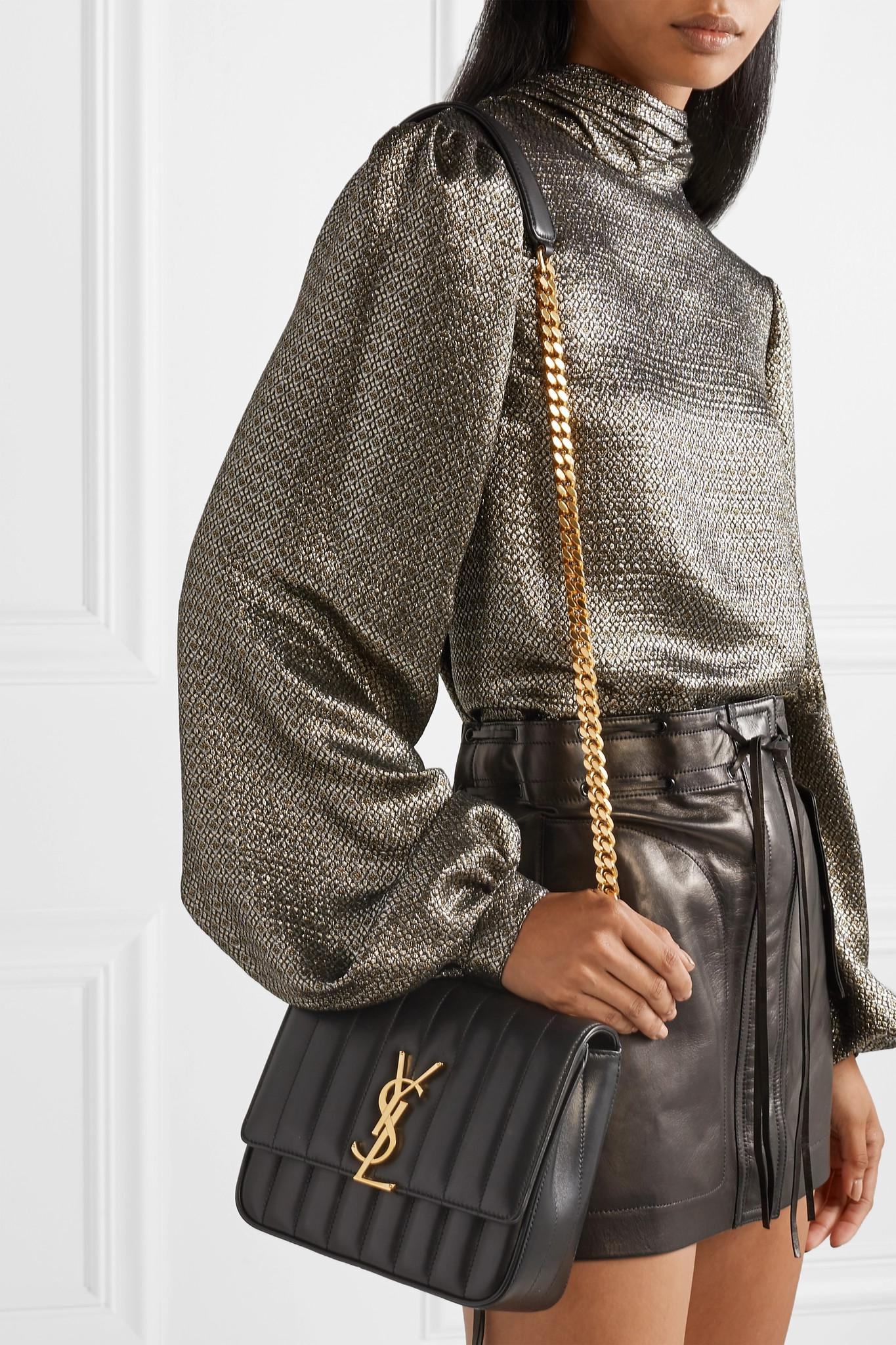 33aa65941242 Saint Laurent - Black Vicky Medium Quilted Leather Shoulder Bag - Lyst.  View fullscreen
