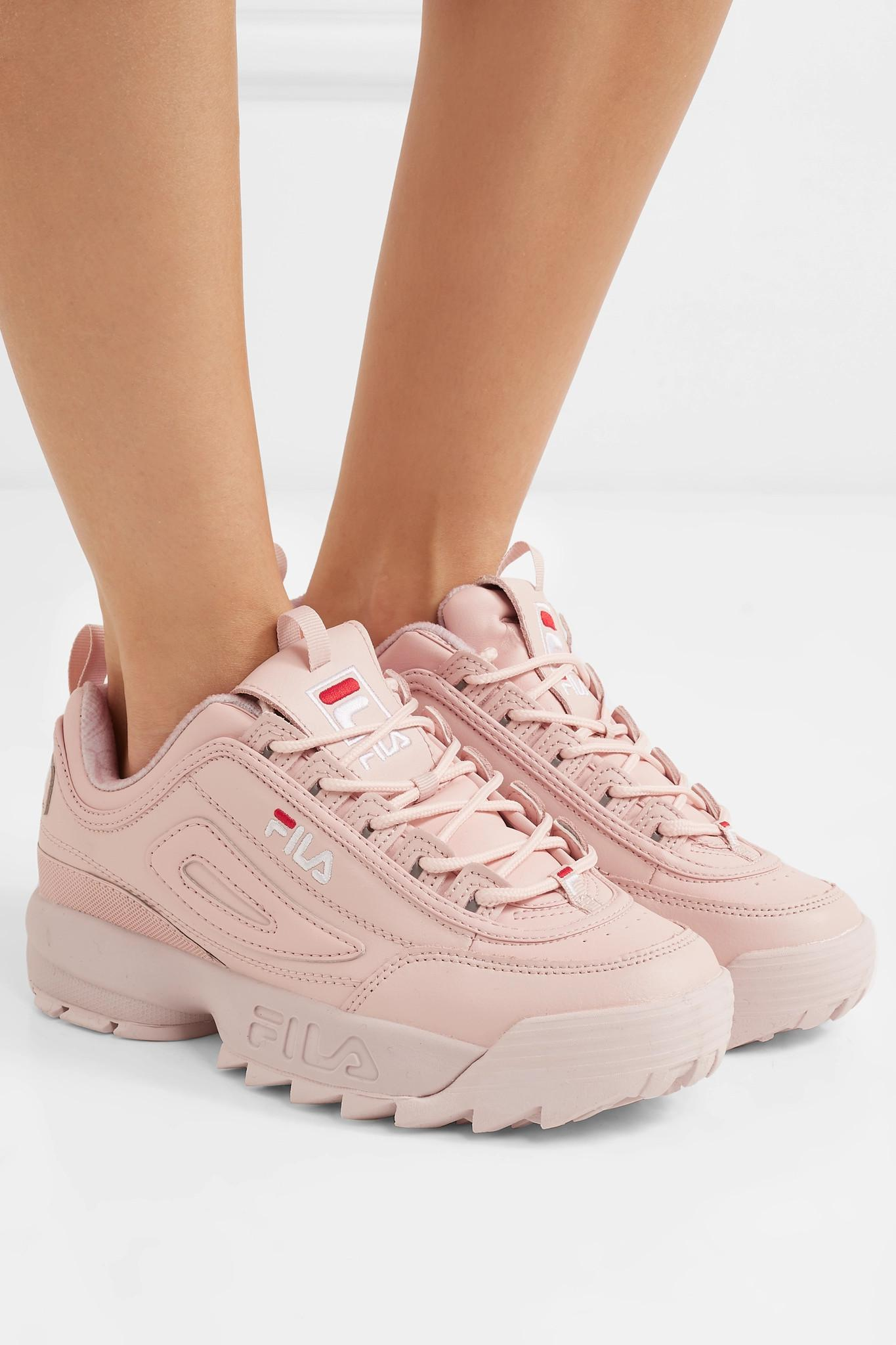 8ca69d25c2fcb Fila Disruptor Ii Premium Logo-embroidered Leather Sneakers in Pink ...