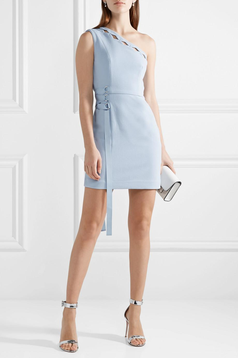 Barra Cutout One-shoulder Crepe Mini Dress - Sky blue Rebecca Vallance H9u69A