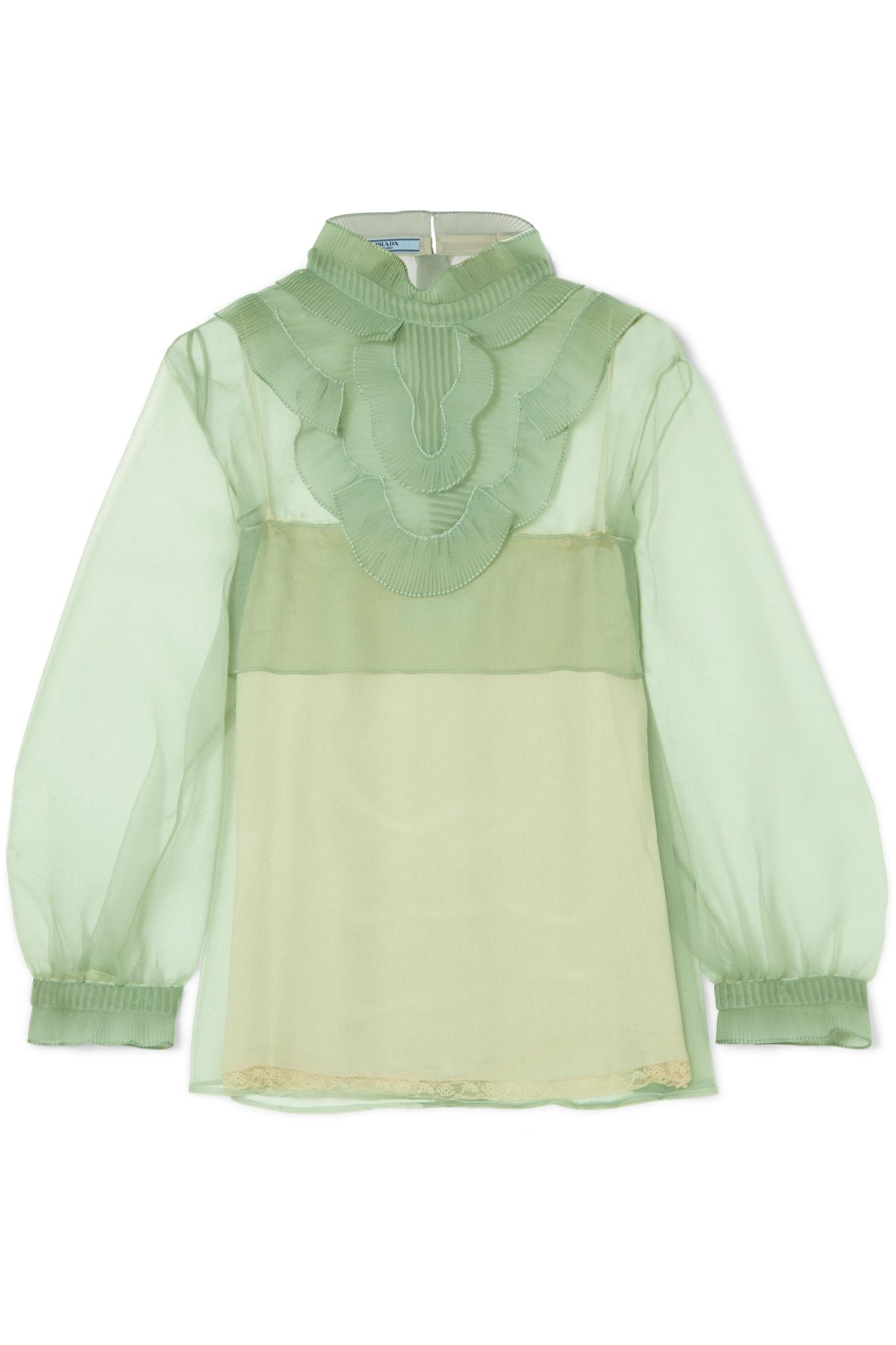 9b048e8d929cbb Lyst - Prada Ruffled Organza Blouse in Green
