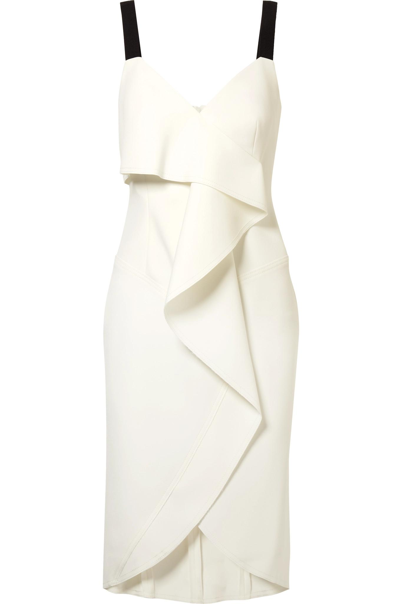 Cold-shoulder Grosgrain-trimmed Crepe Dress - Ivory Jason Wu ZjPzY