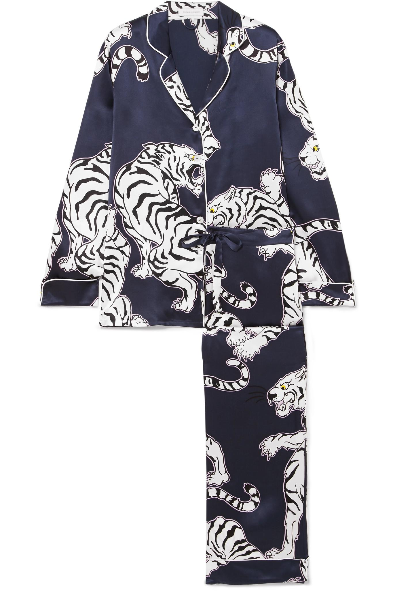Lyst - Olivia Von Halle Lila Printed Silk-satin Pajama Set in Blue 0d33830e8