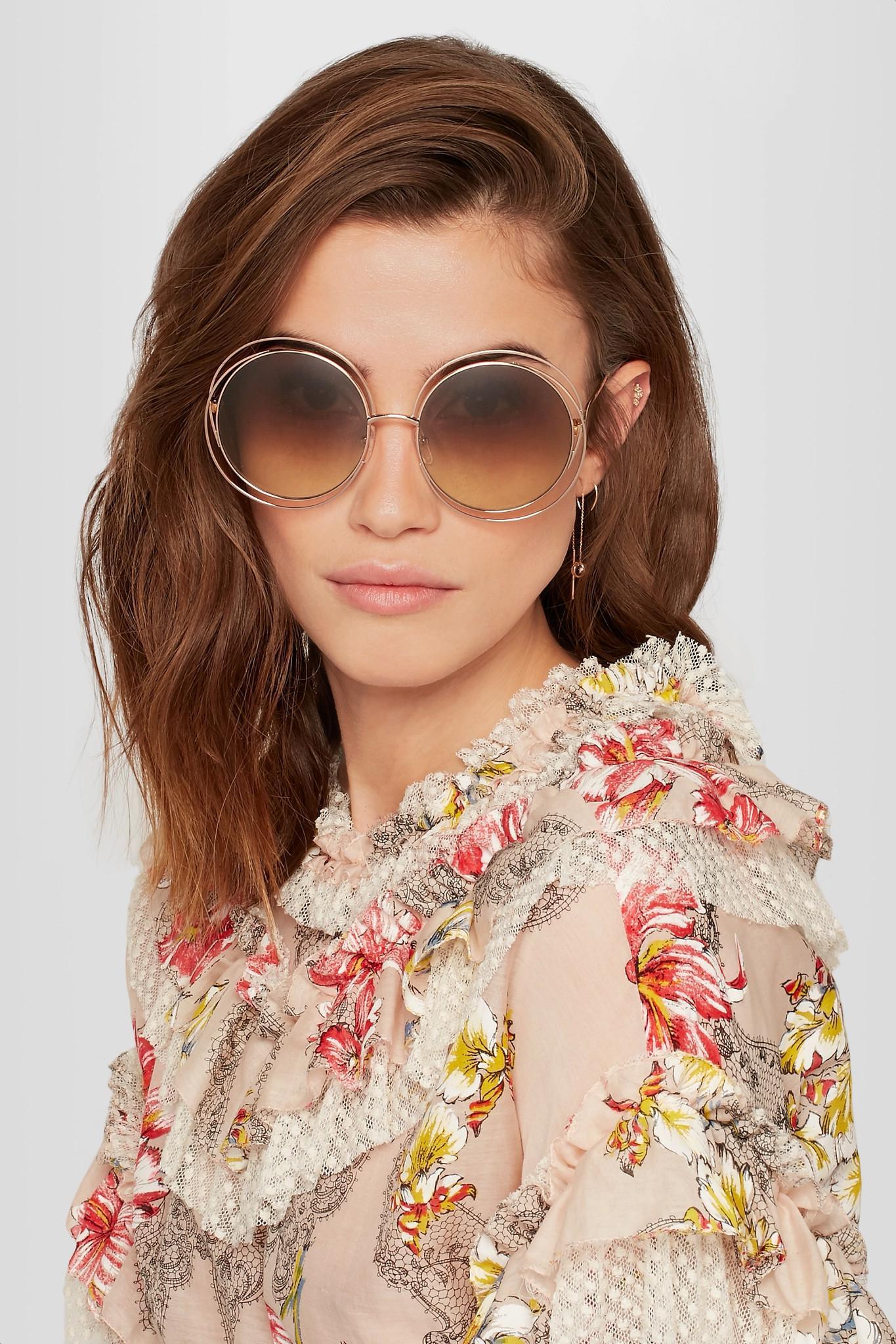 b831bccb8 Chloé Carlina Round-frame Rose Gold-tone Sunglasses in Brown - Lyst