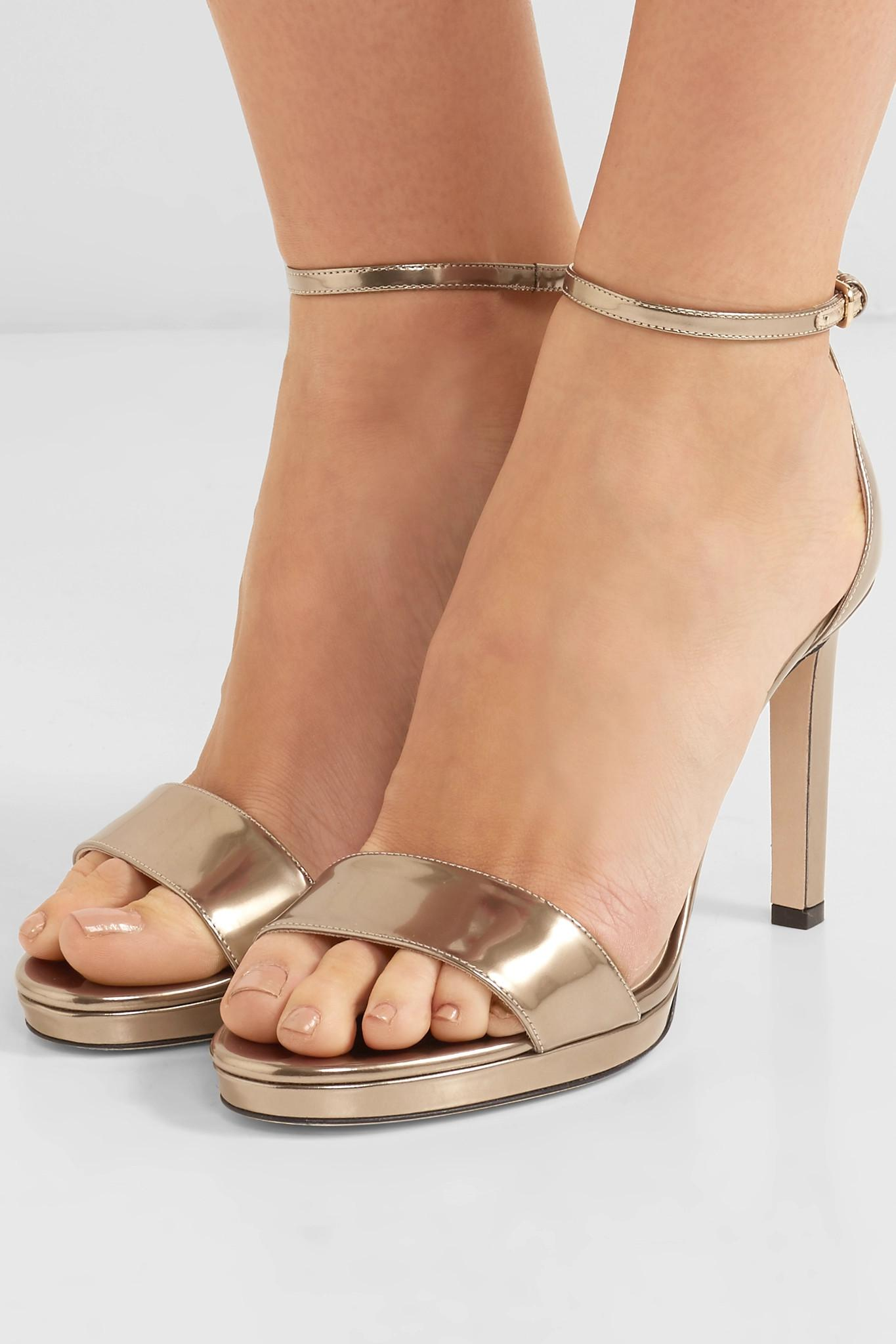 31290d2bbd1 Jimmy Choo - Misty 100 Metallic Leather Platform Sandals - Lyst. View  fullscreen
