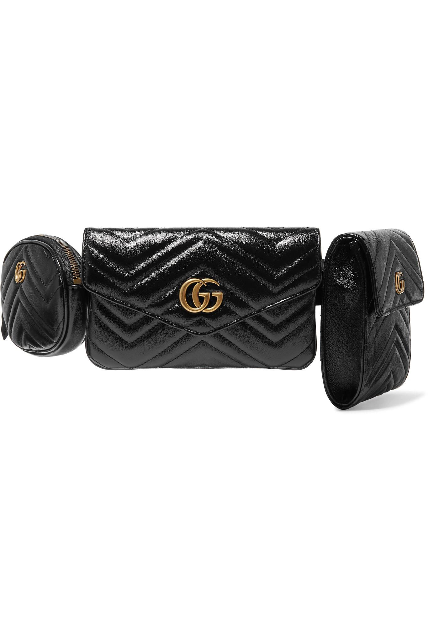 a9ae68c9716 Lyst - Gucci Gg Marmont Quilted Leather Belt Bag in Black