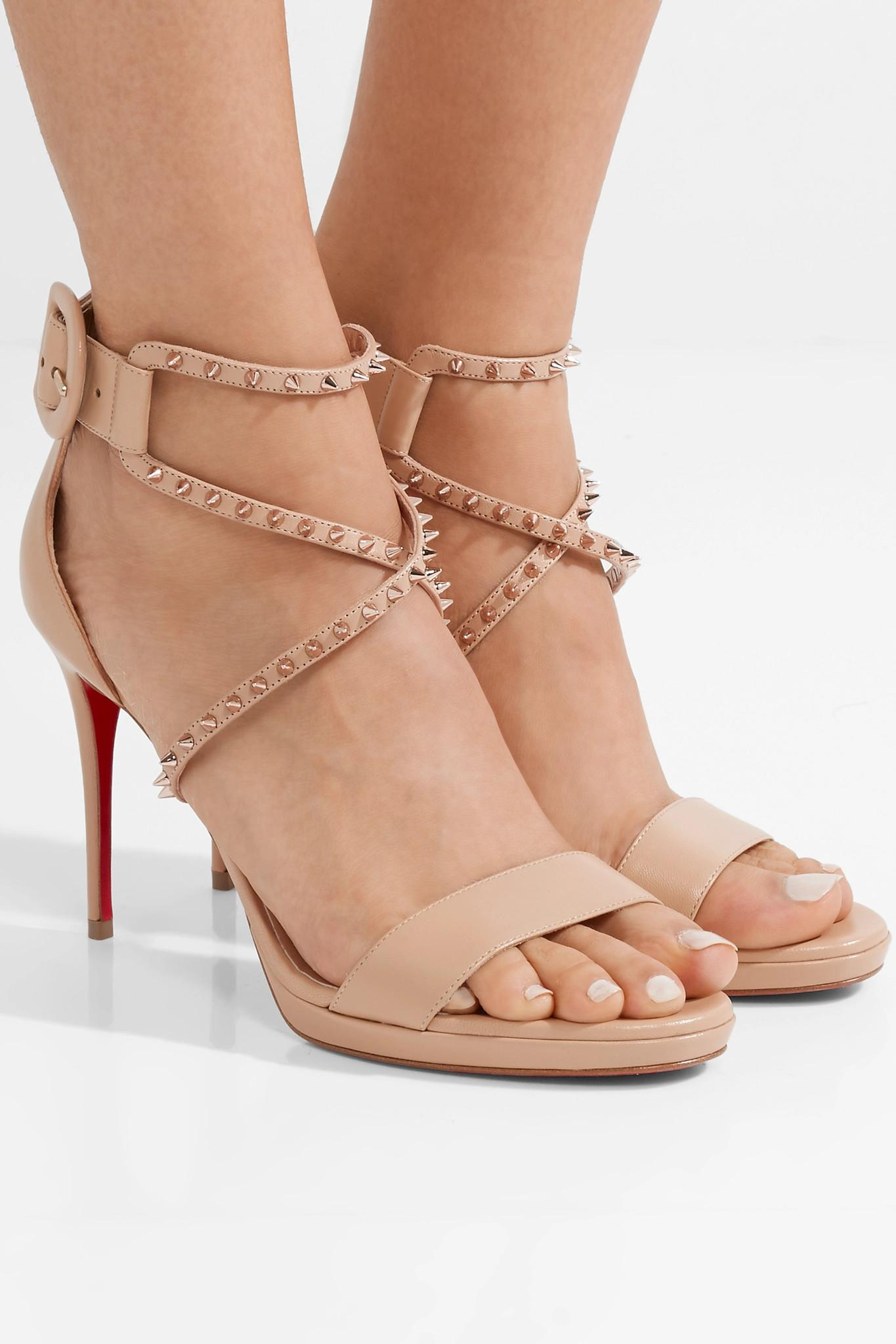 350dfb8e563 Christian Louboutin Choca Lux 100 Studded Leather Sandals - Lyst