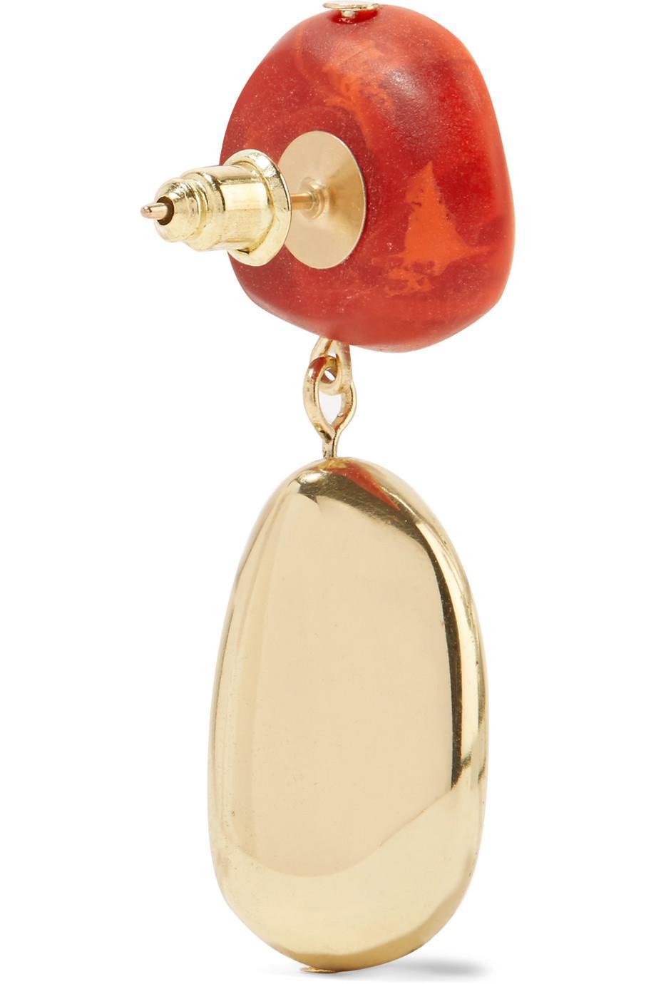 Dinosaur Designs Gold-tone Resin Earrings - Orange iNMcDHm