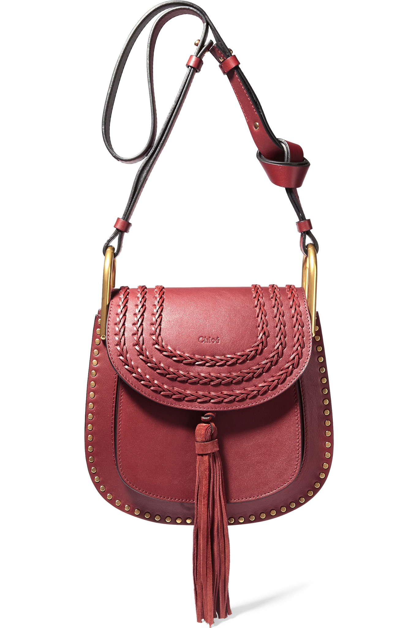 lyst chlo hudson small whipstitched leather shoulder bag in red. Black Bedroom Furniture Sets. Home Design Ideas