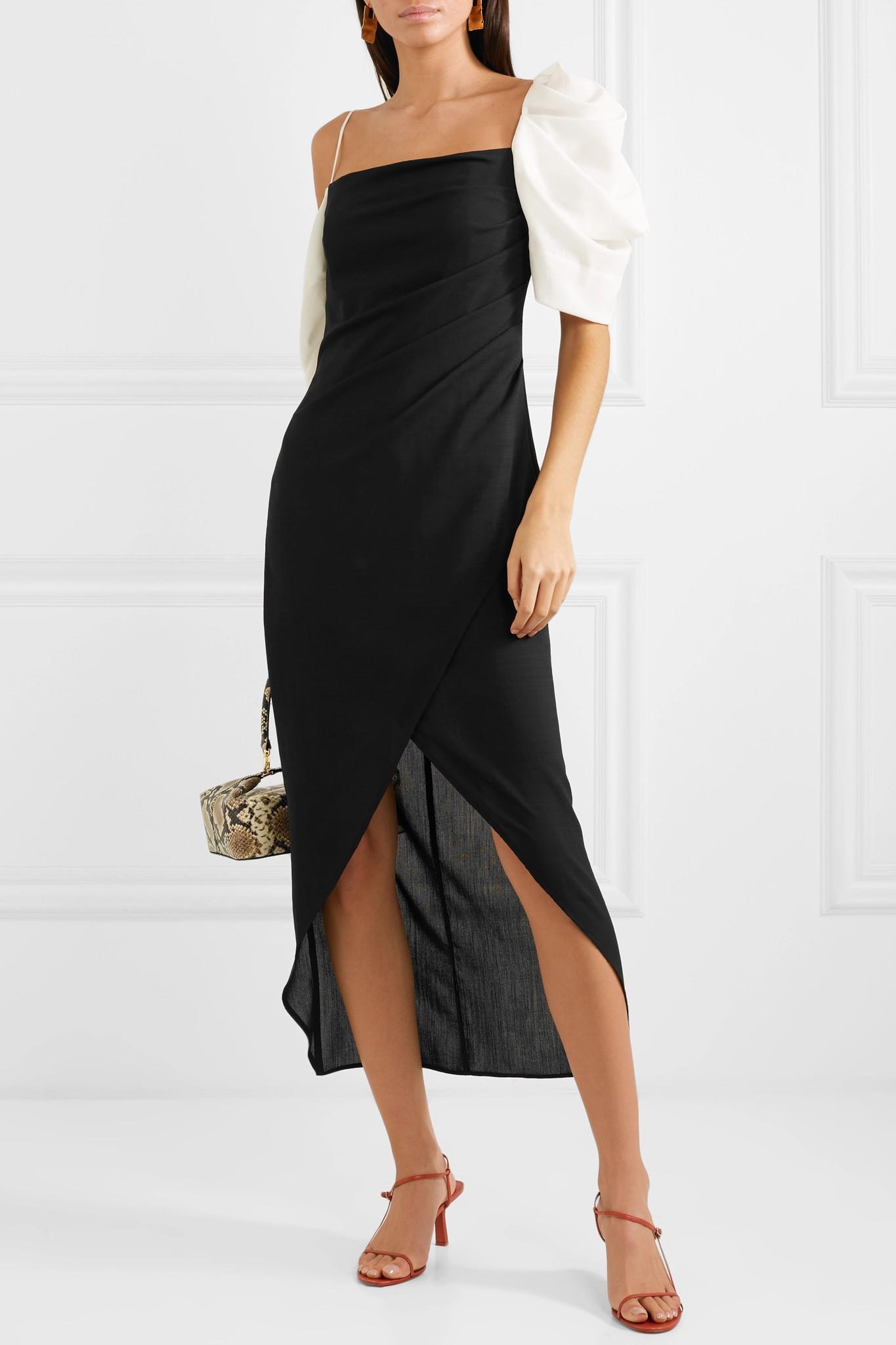 Layla Crepe In Black Rejina Dress Lyst Midi Pyo Cold Shoulder OP5RWwgxHq