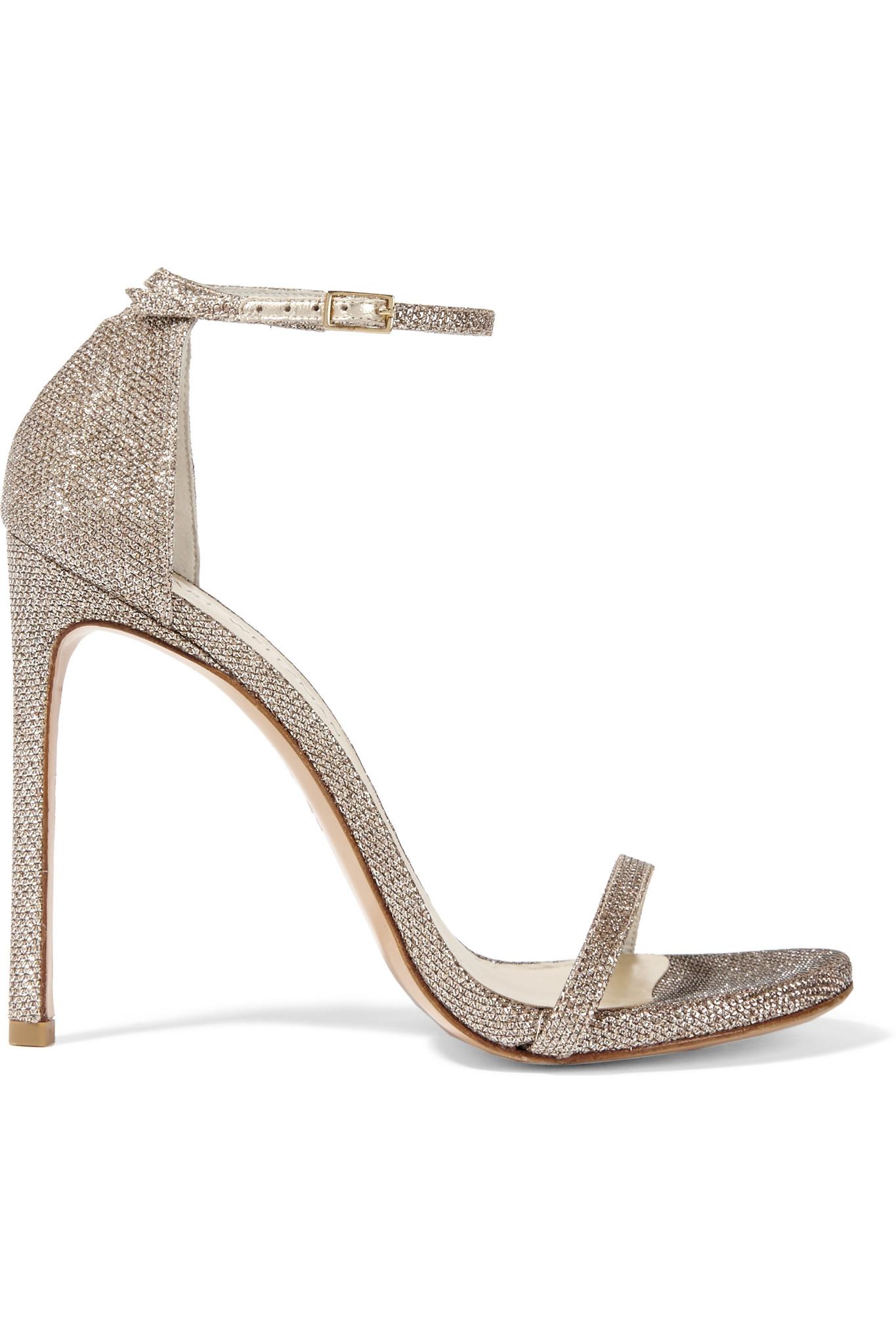 Lyst Stuart Weitzman Nudist Metallic Mesh Sandals