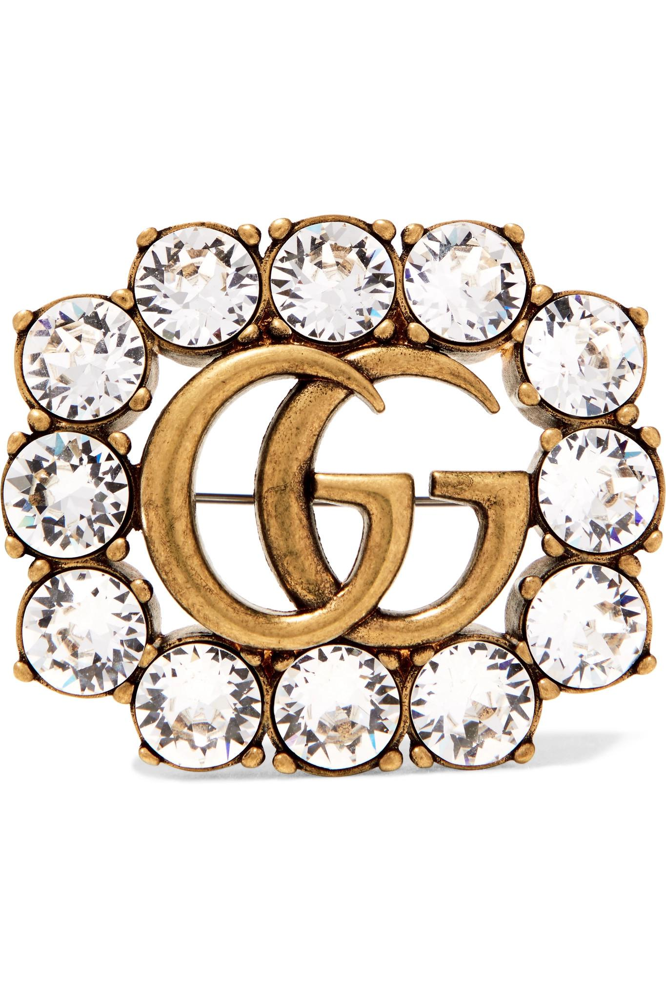 Gucci Guccy crystal brooch - Metallic gXLGTw