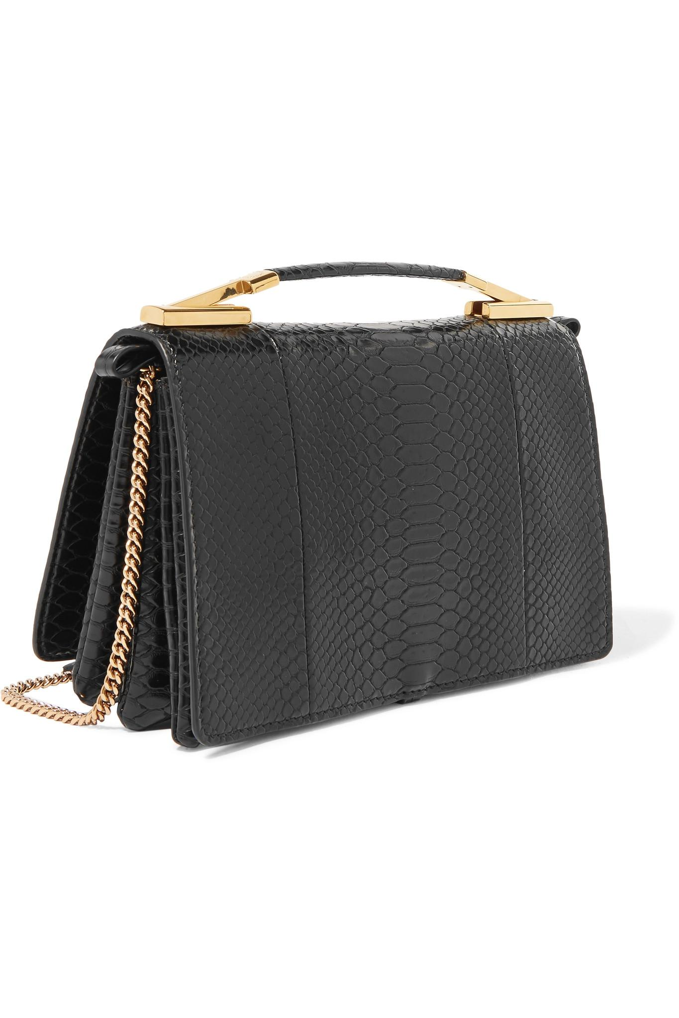 Flo Python-effect Faux Leather Shoulder Bag - Black Stella McCartney EVAGi