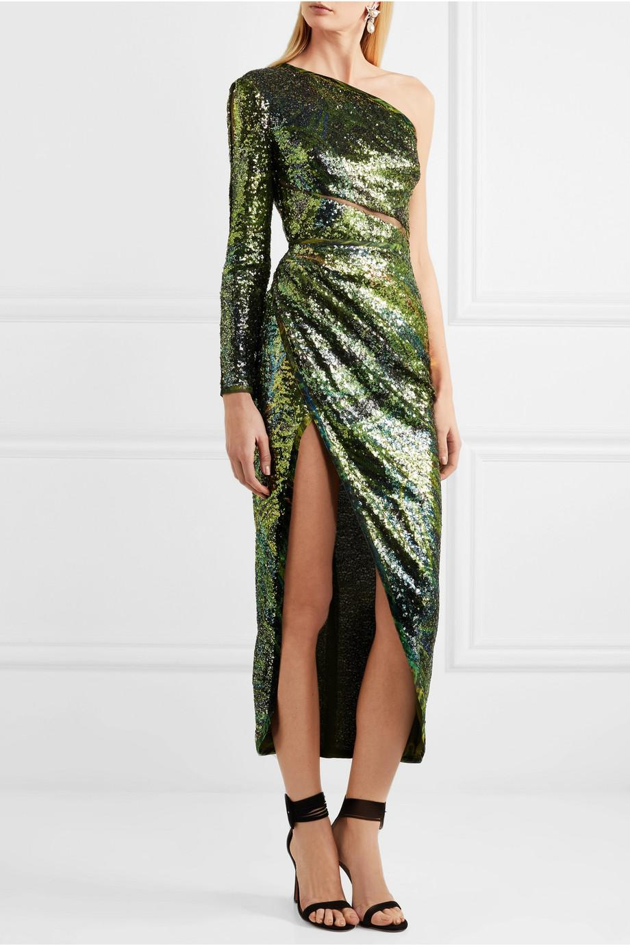 One-shoulder Sequined Silk-tulle Dress - Green Elie Saab EveGb