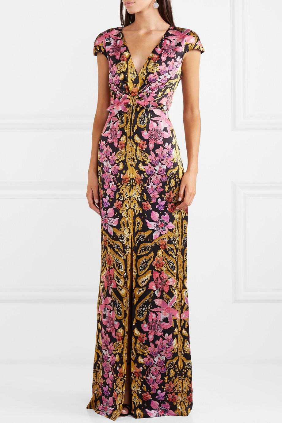 Bow-embellished Printed Hammered-silk Gown - Pink Temperley London Cheap Sale Latest Collections Manchester Cheap Online Cheap Get Authentic WI0rrLehK
