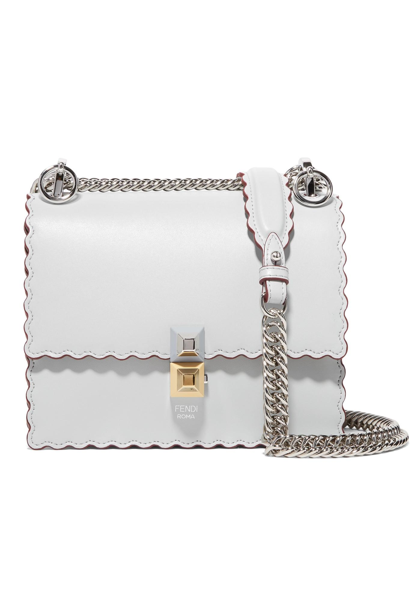 Fendi Kan I Mini Scalloped Leather Shoulder Bag in Gray - Lyst f7cfc1085a815