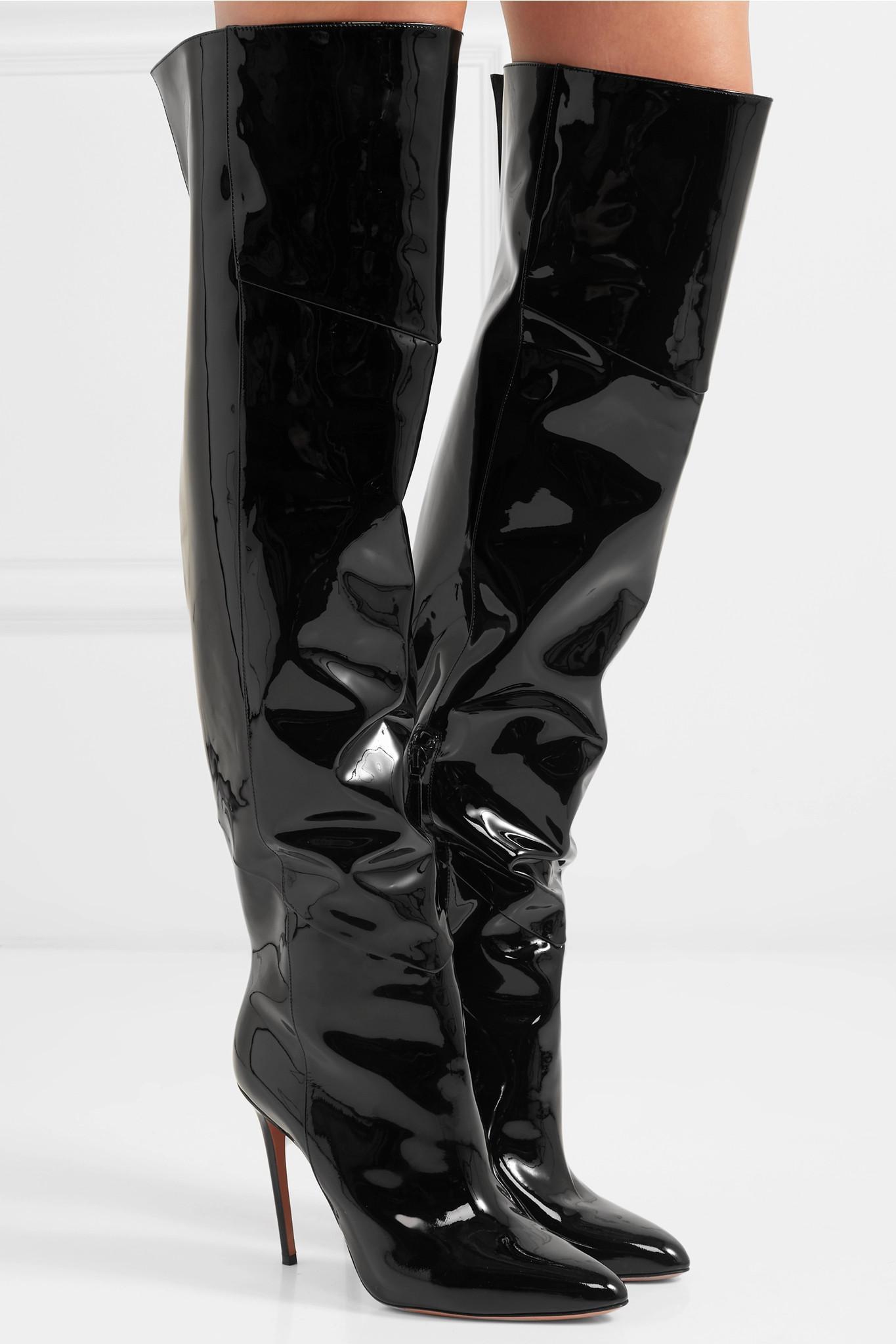 918aa14eb5b Aquazzura - Black Alma 105 Patent-leather Over-the-knee Boots - Lyst. View  fullscreen