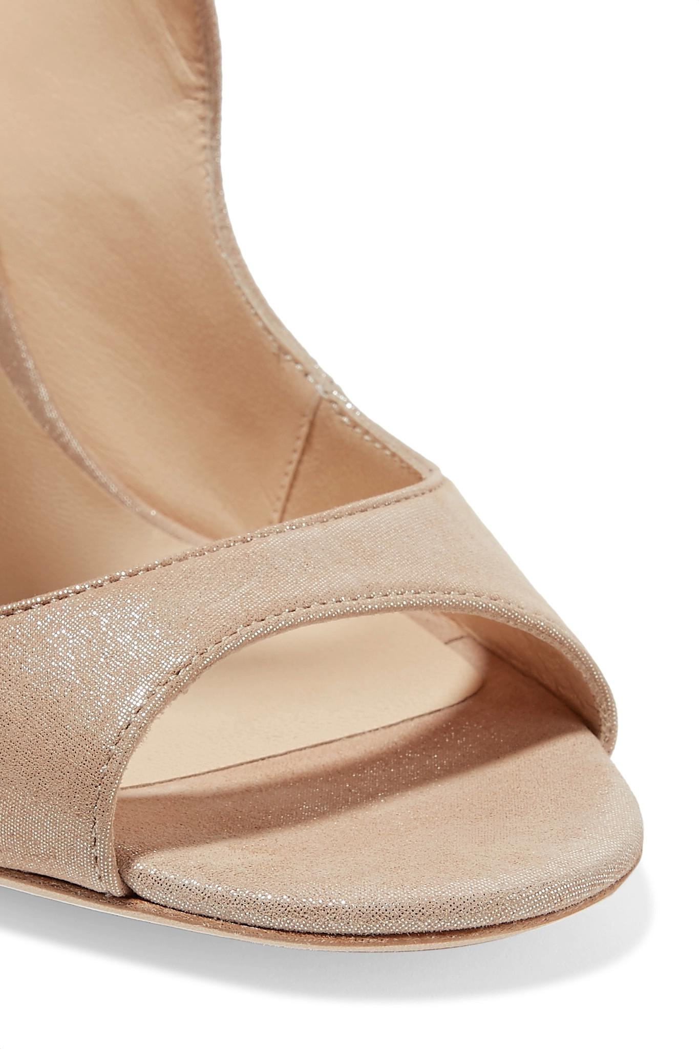 38fc7625513 Lyst - Jimmy Choo Blythe Scalloped Suede Sandals in Natural
