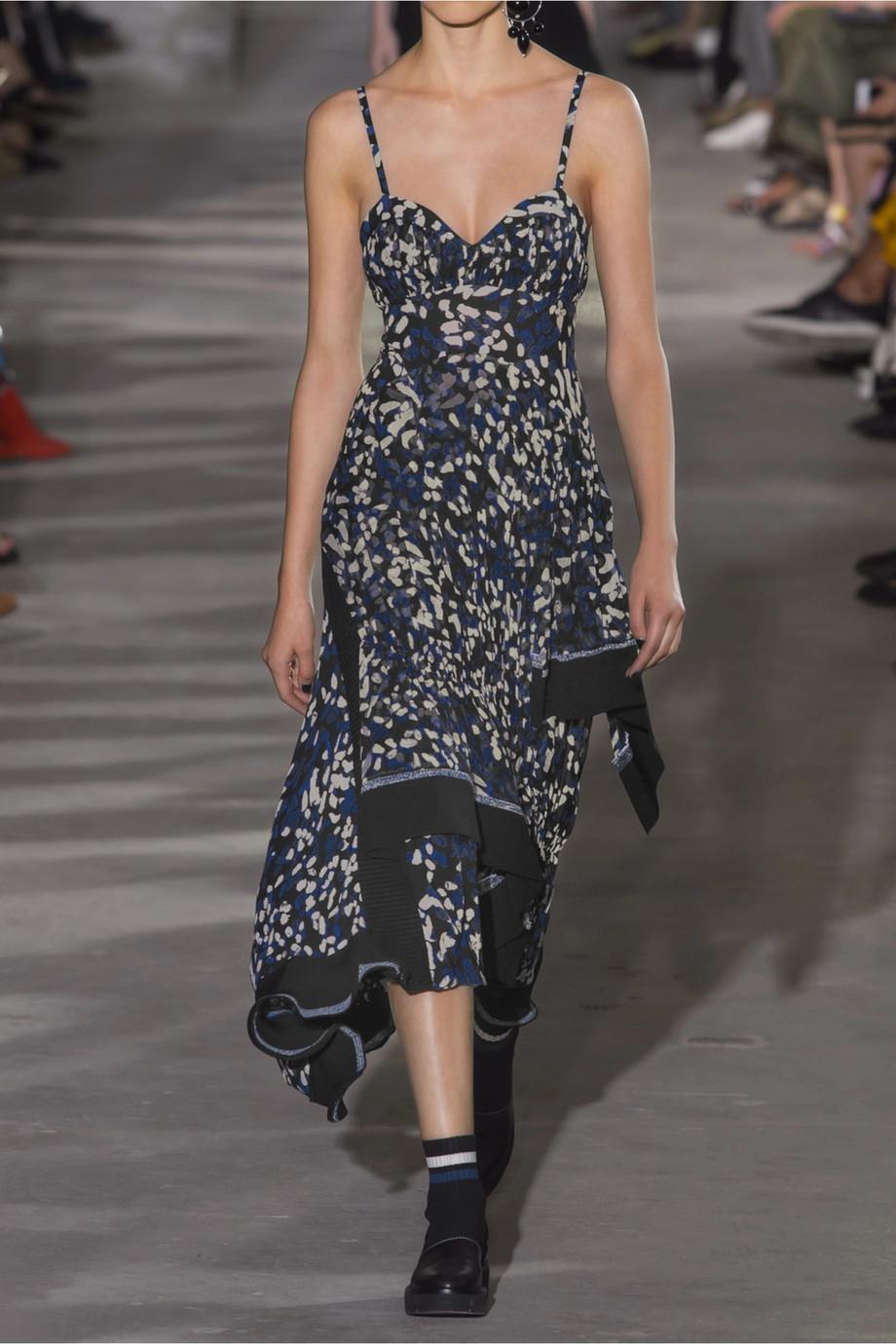 Pleated Printed Silk Crepe De Chine Midi Dress - Black 3.1 Phillip Lim CCjdmuU