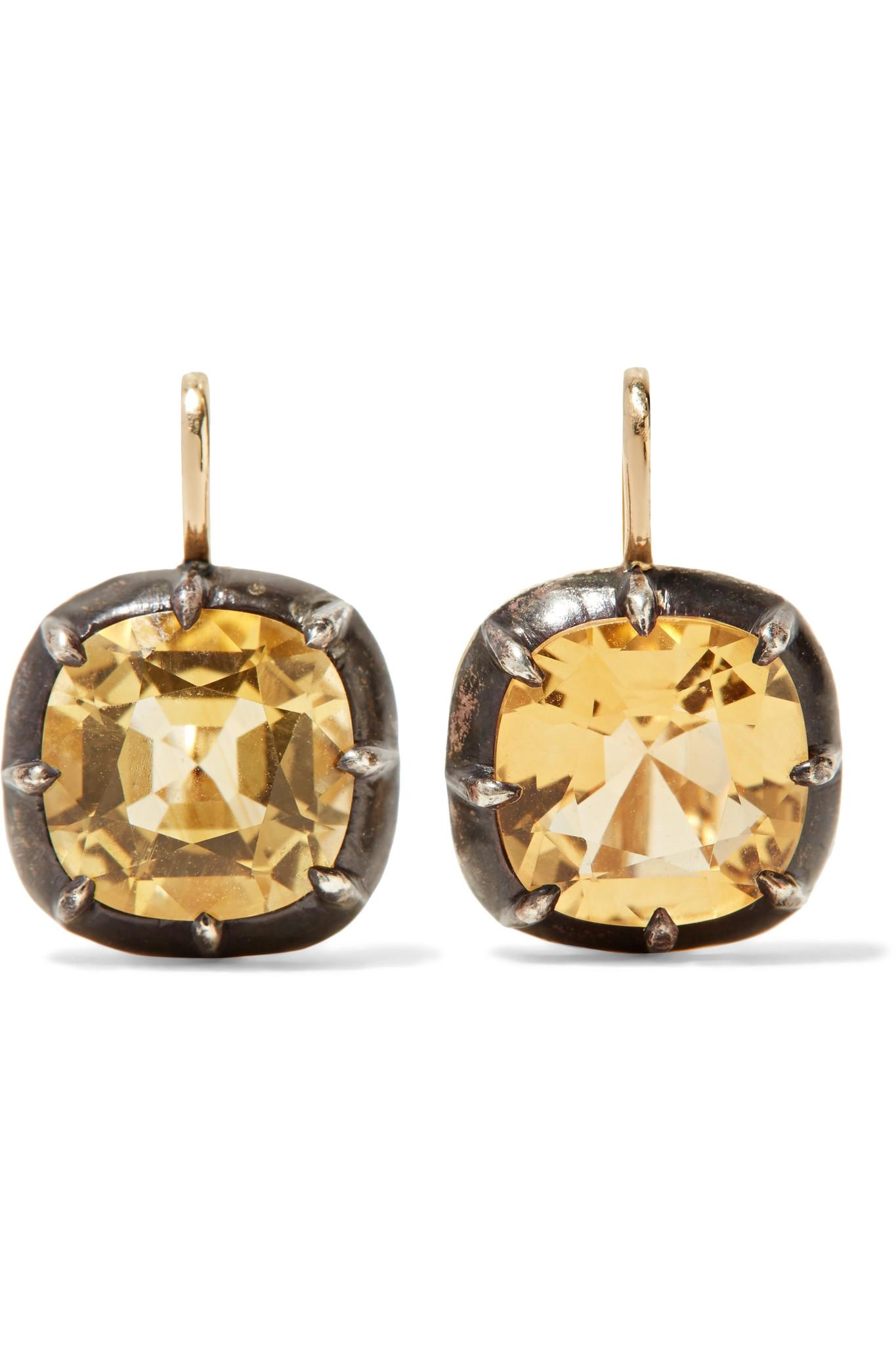 Collection Dard De Fleurs En Herbe 18 Carats Boucles D'oreilles En Diamant D'or - Taille Fred Leighton 3WVIU