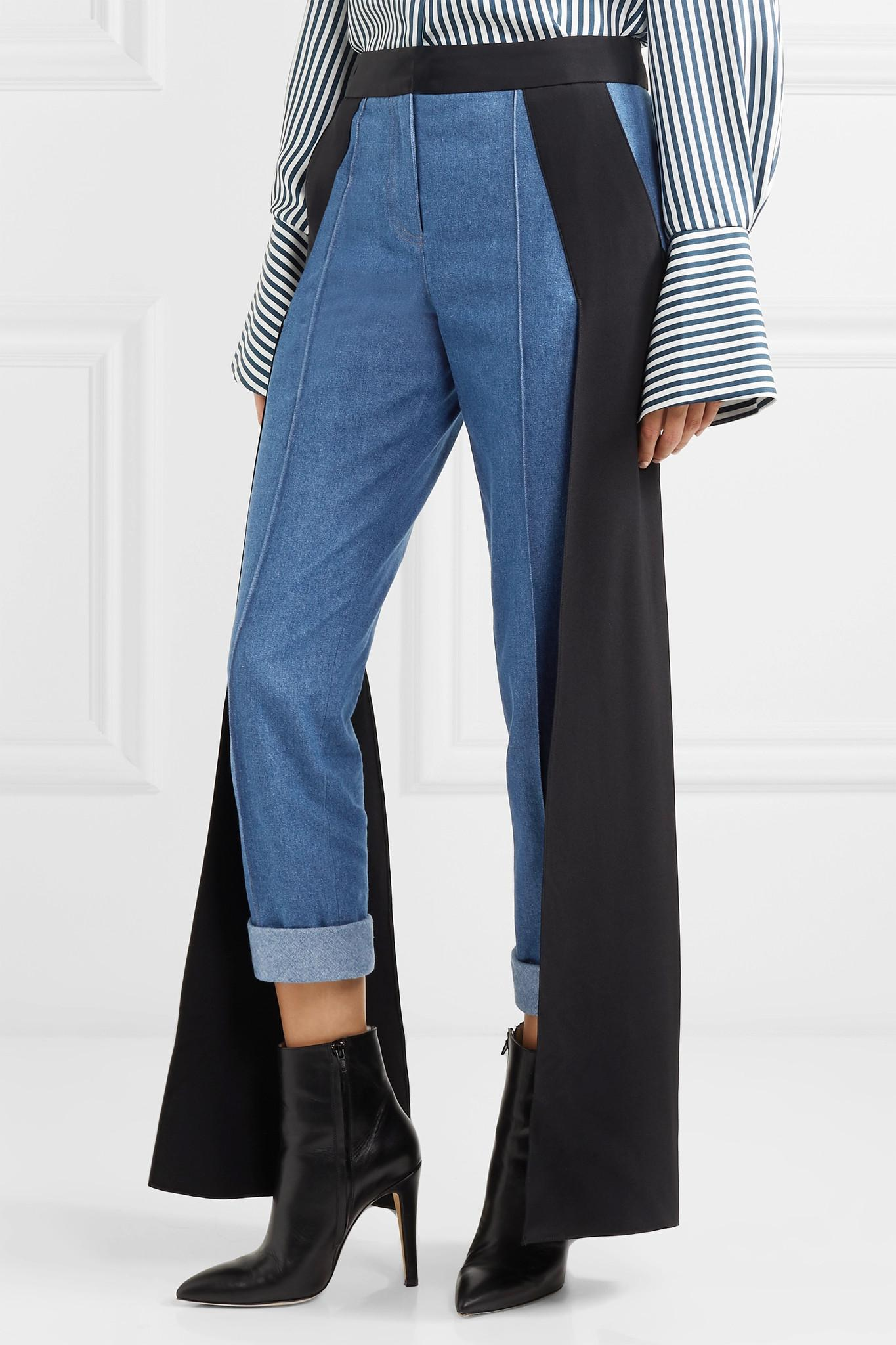 Smith Silk-satin Paneled High-rise Straight-leg Jeans - Dark denim Hellessy PRkHb8EY3