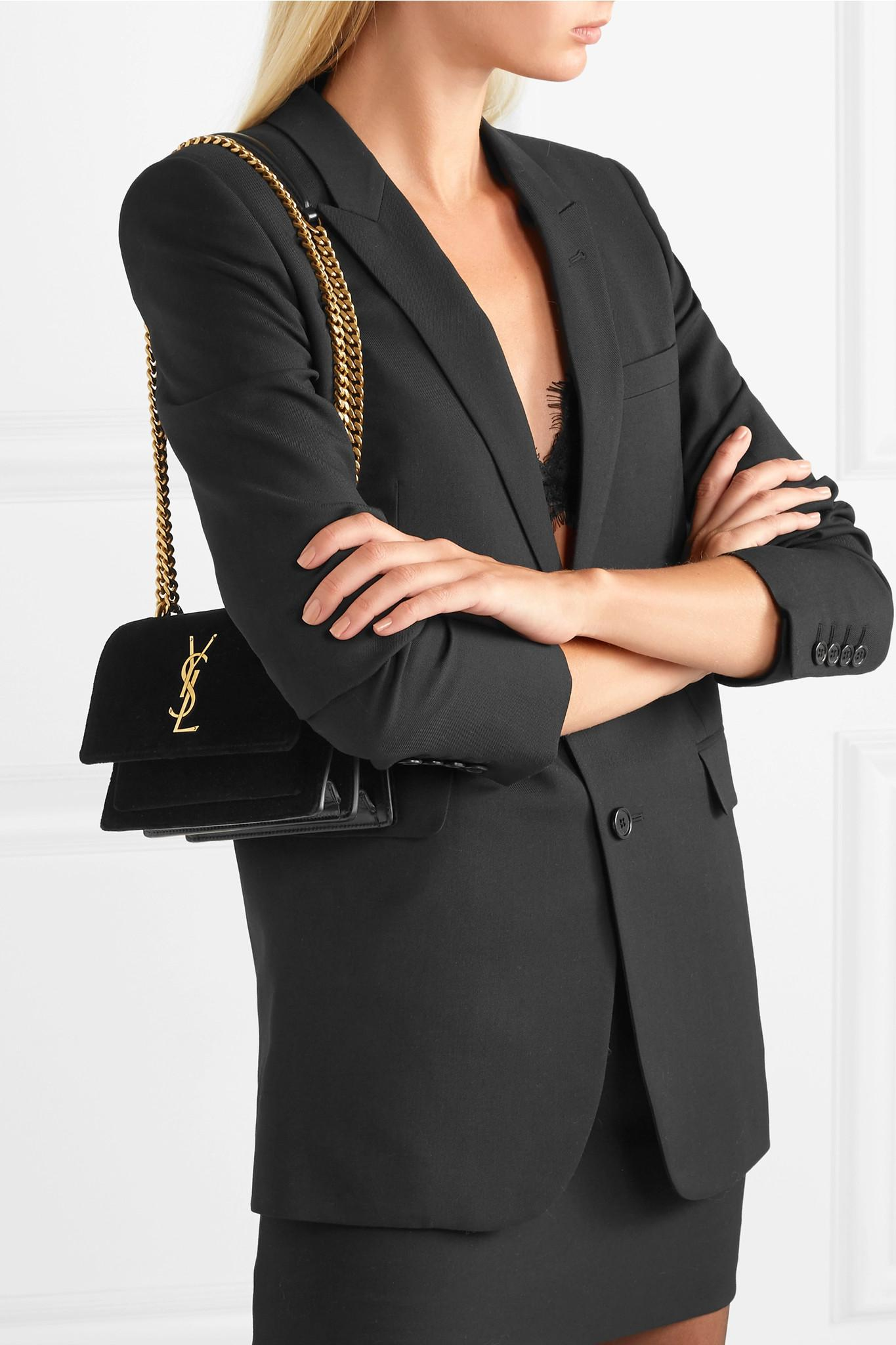e9fdfeb4464d Lyst - Saint Laurent Sunset Small Velvet And Leather Shoulder Bag in ...