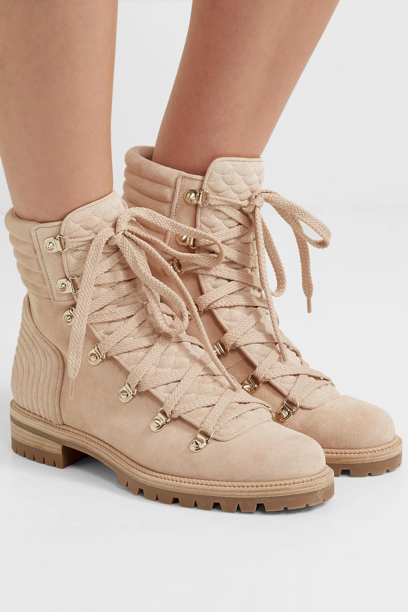 c5b86a21e528 Christian Louboutin - Natural Mad Spiked Quilted Suede Ankle Boots - Lyst.  View fullscreen